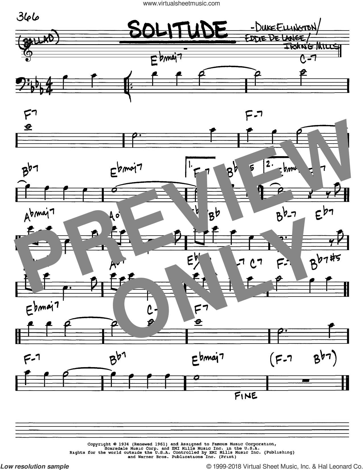 Solitude sheet music for voice and other instruments (Bass Clef ) by Irving Mills, Duke Ellington and Eddie DeLange. Score Image Preview.