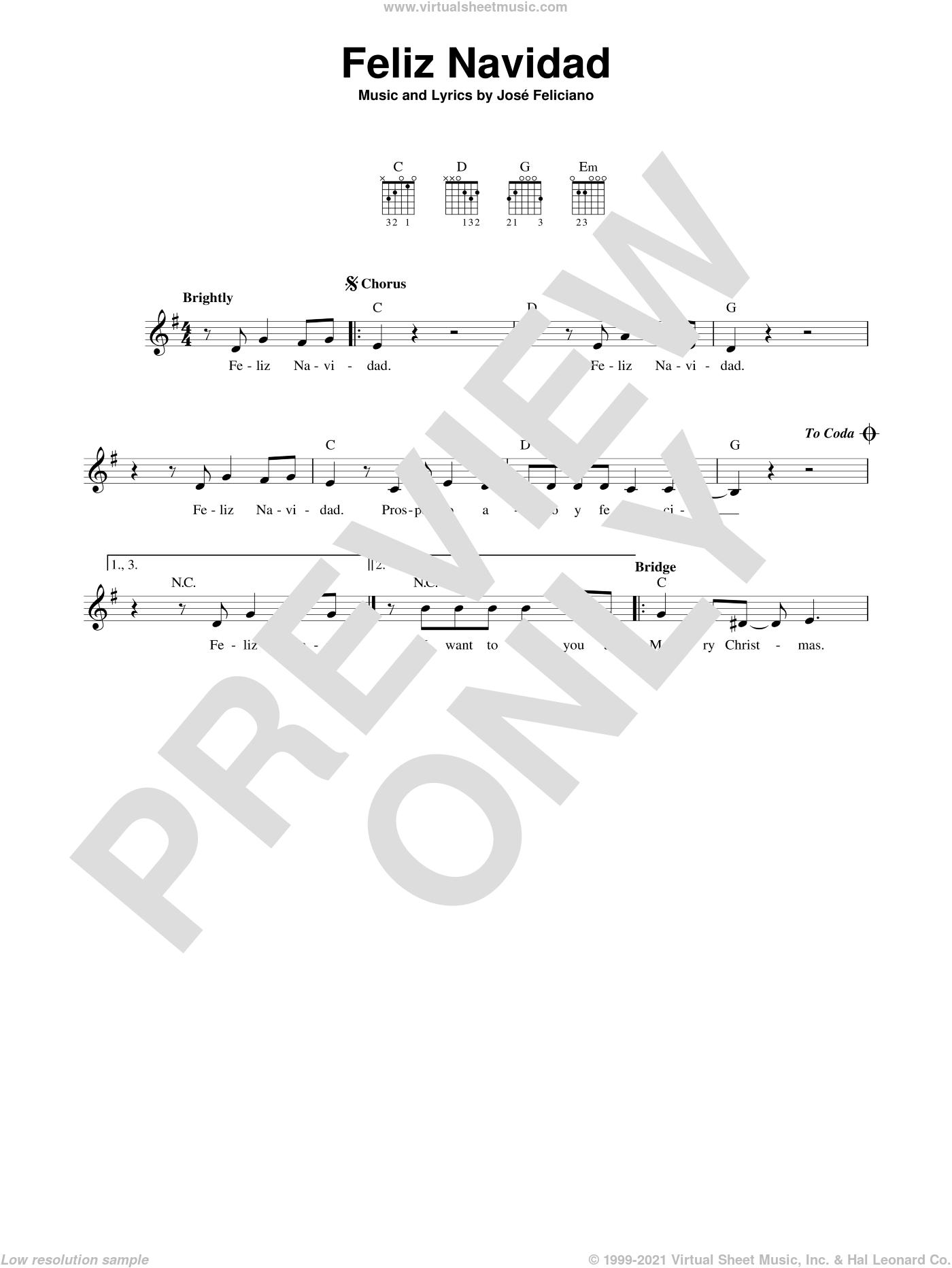 Feliciano Feliz Navidad Sheet Music Easy For Guitar Solo Chords