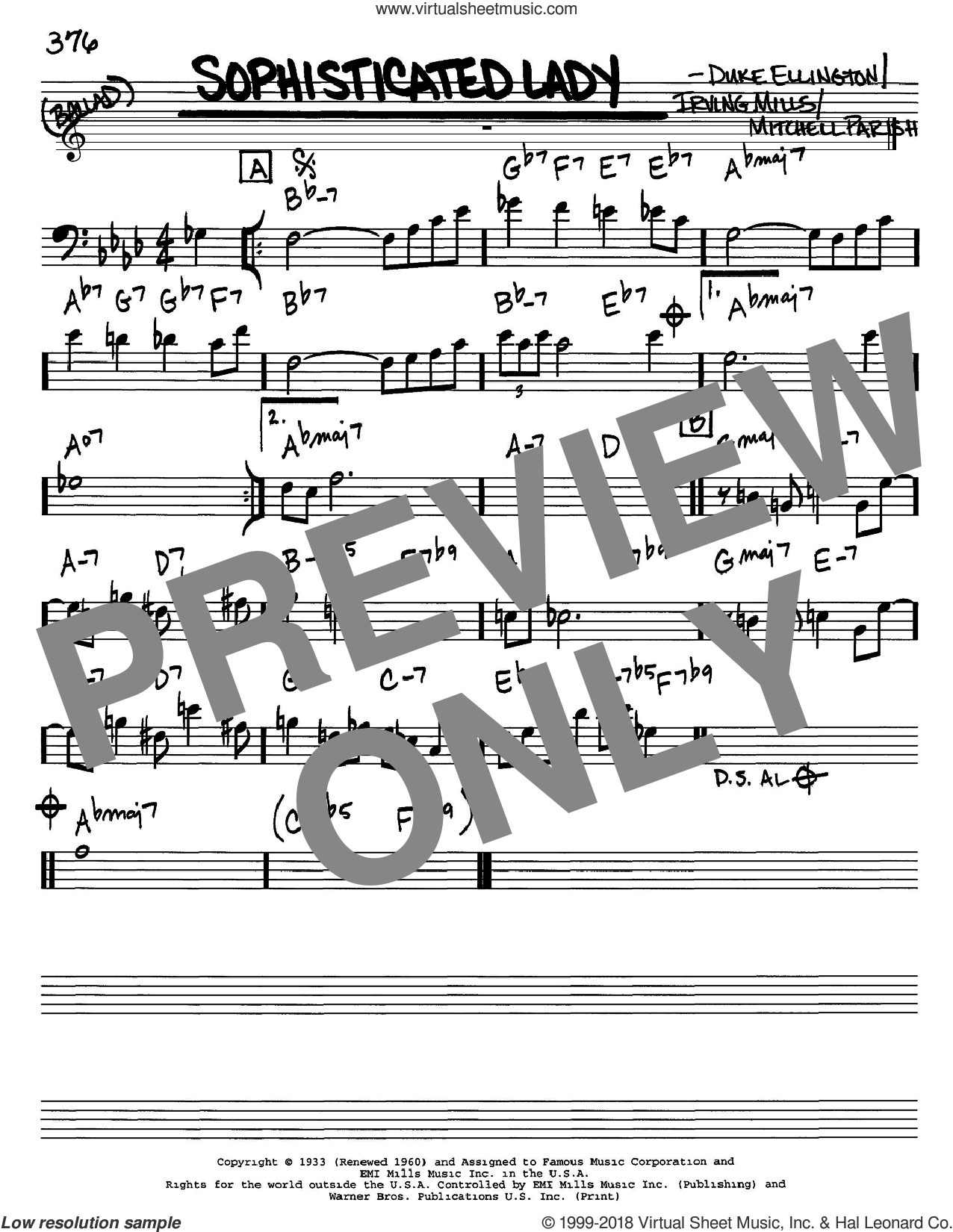 Sophisticated Lady sheet music for voice and other instruments (bass clef) by Duke Ellington, Irving Mills and Mitchell Parish, intermediate. Score Image Preview.