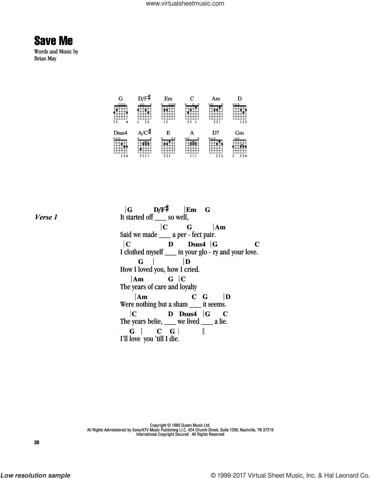 Save Me sheet music for guitar (chords) by Queen and Brian May, intermediate skill level