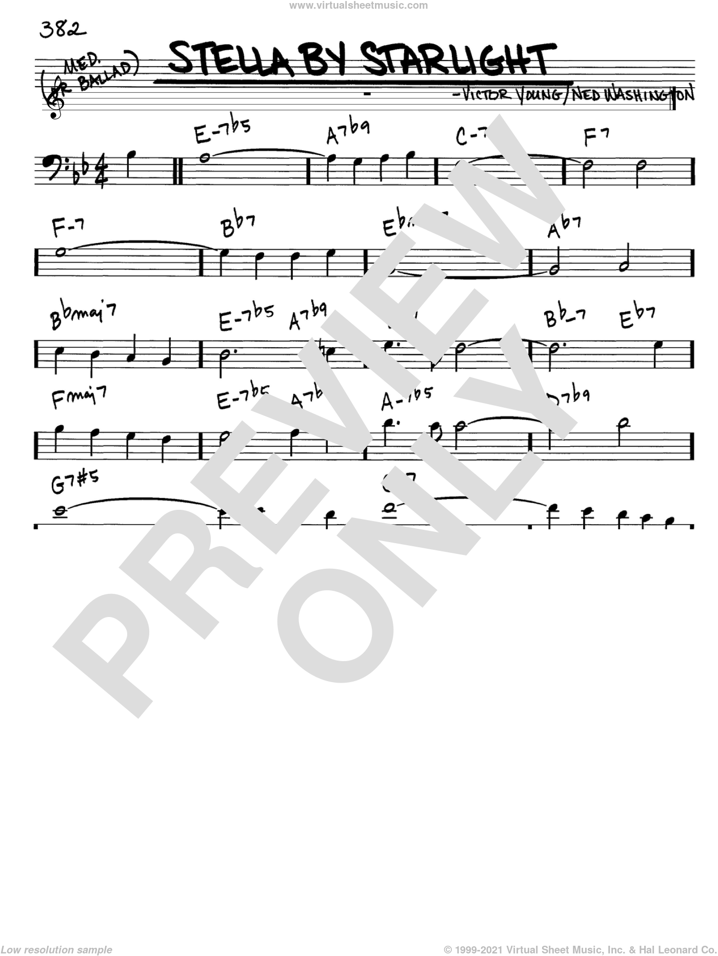 Stella By Starlight sheet music for voice and other instruments (Bass Clef ) by Ned Washington and Victor Young. Score Image Preview.