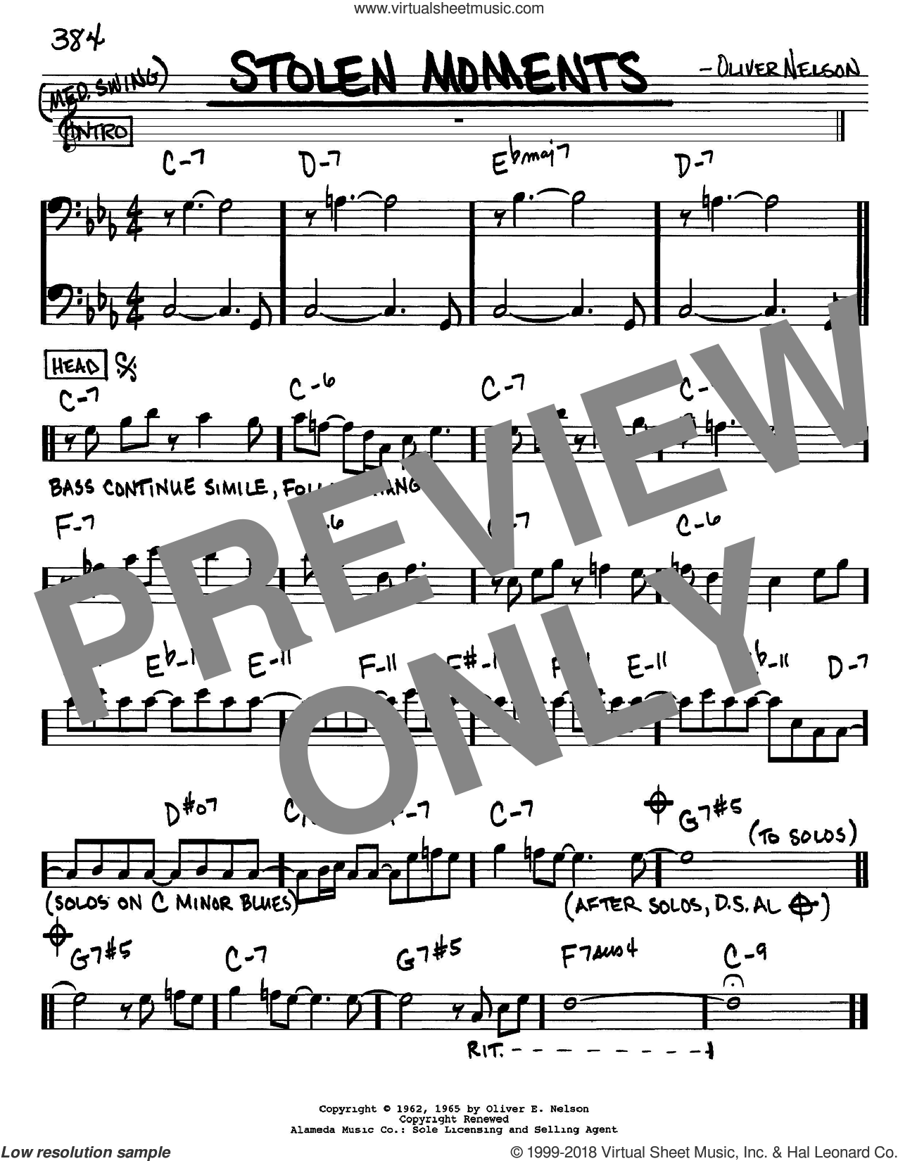 Nelson Stolen Moments Sheet Music Real Book Melody And Chords
