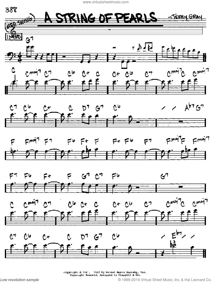 A String Of Pearls sheet music for voice and other instruments (Bass Clef ) by Eddie DeLange and Jerry Gray, intermediate voice. Score Image Preview.