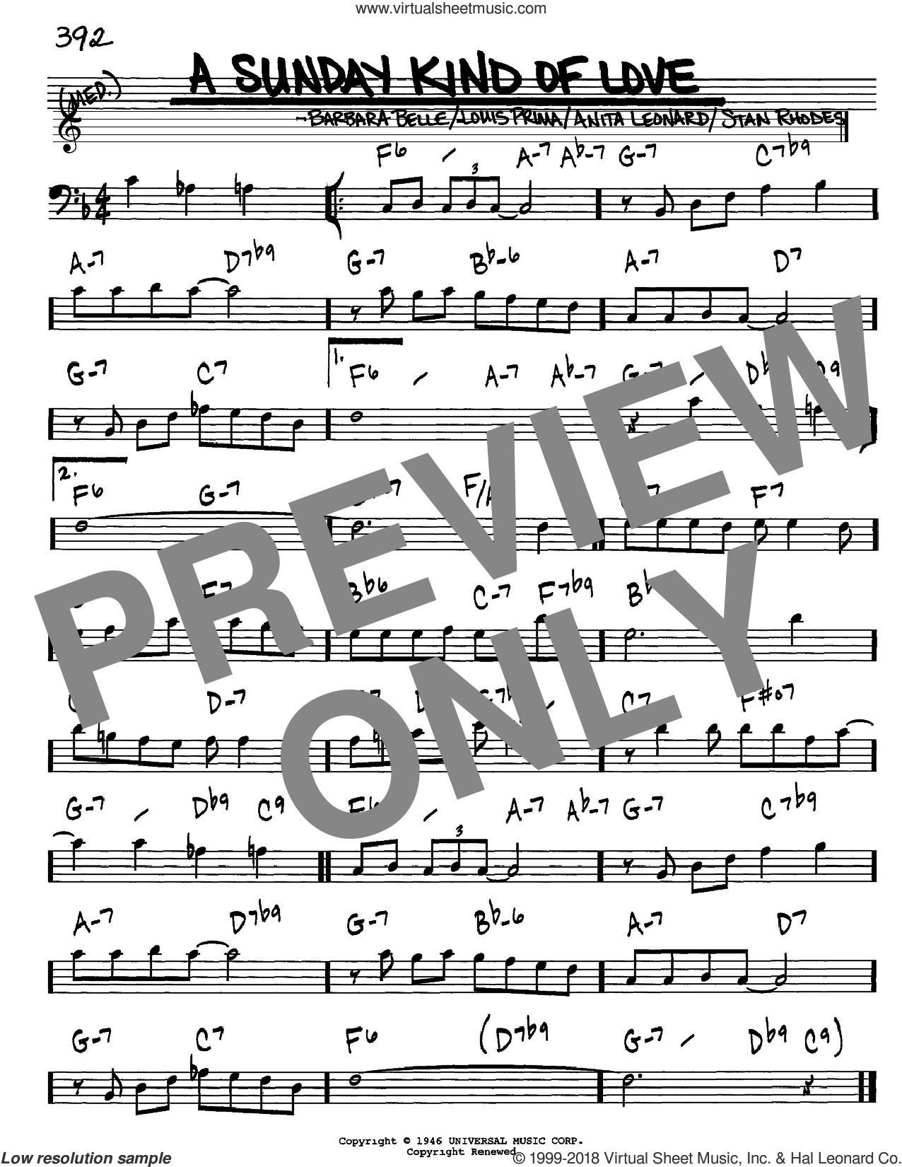 A Sunday Kind Of Love sheet music for voice and other instruments (Bass Clef ) by Stan Rhodes and Louis Prima. Score Image Preview.