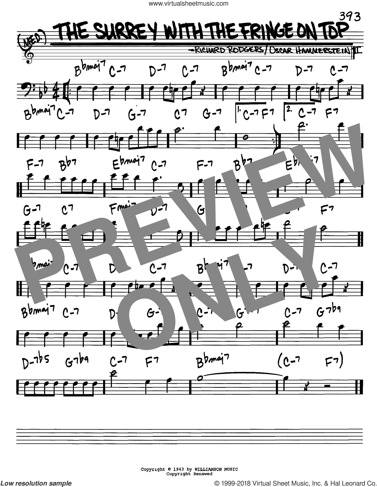 The Surrey With The Fringe On Top sheet music for voice and other instruments (Bass Clef ) by Rodgers & Hammerstein, Oscar II Hammerstein and Richard Rodgers, intermediate. Score Image Preview.