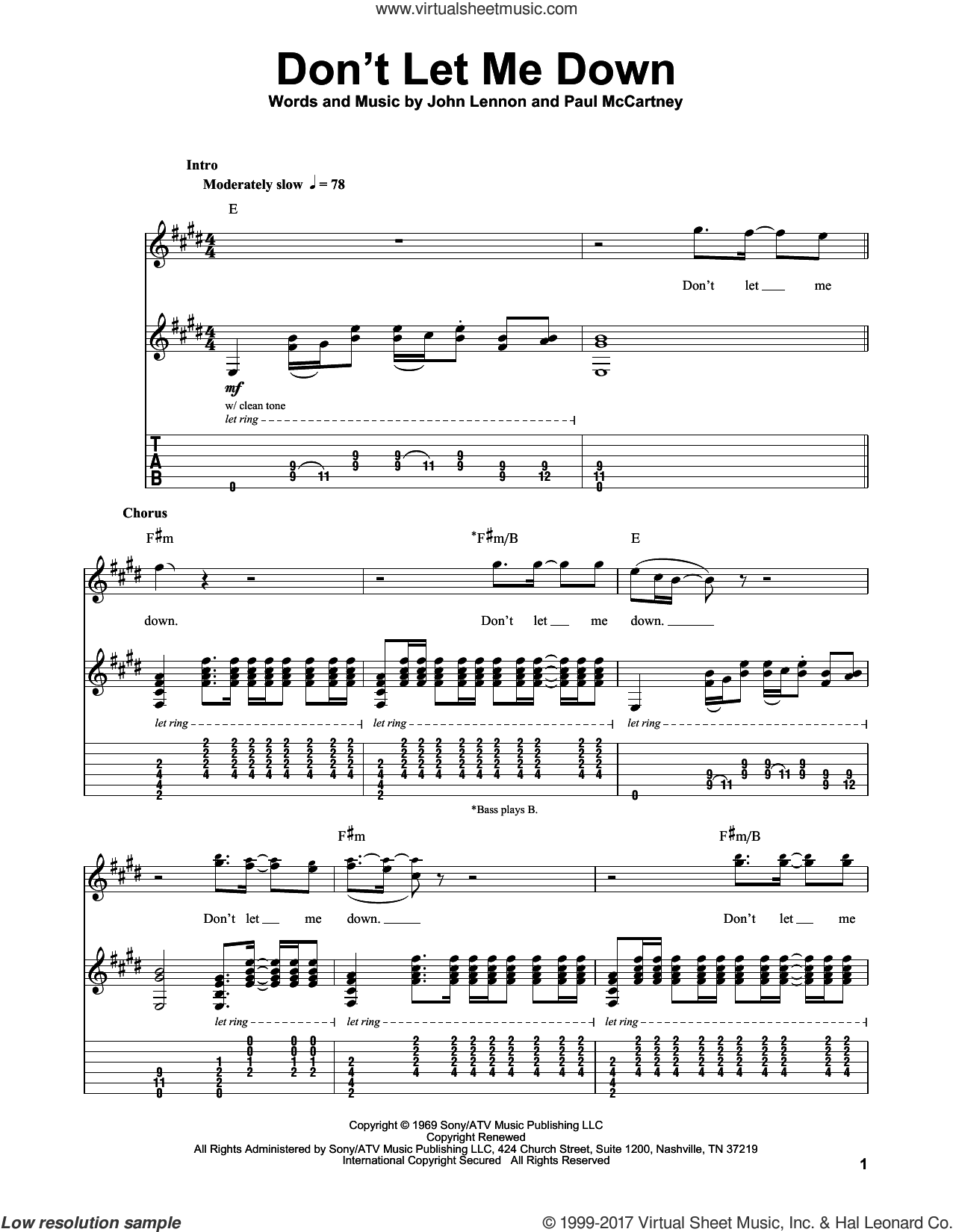 beatles don 39 t let me down sheet music for guitar tablature play along. Black Bedroom Furniture Sets. Home Design Ideas