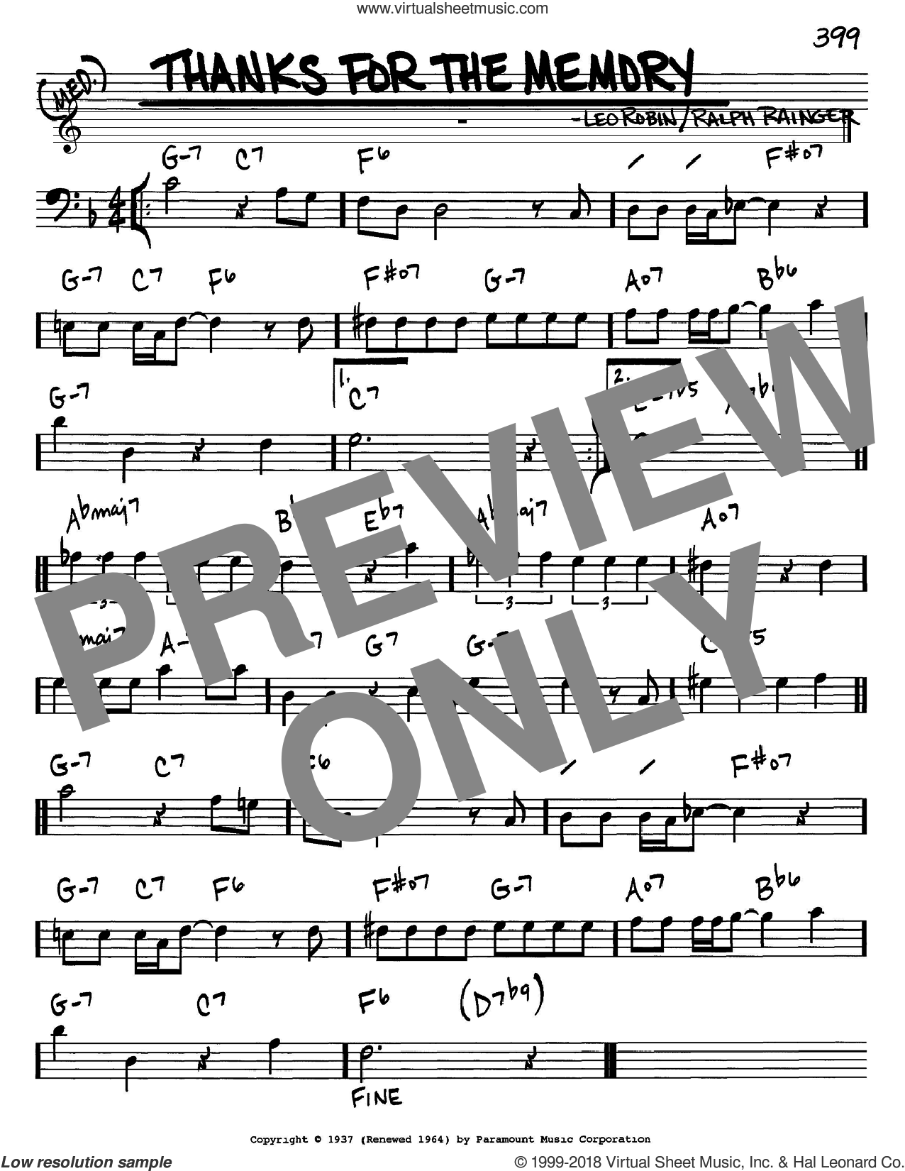 Thanks For The Memory sheet music for voice and other instruments (bass clef) by Ralph Rainger and Leo Robin, intermediate skill level