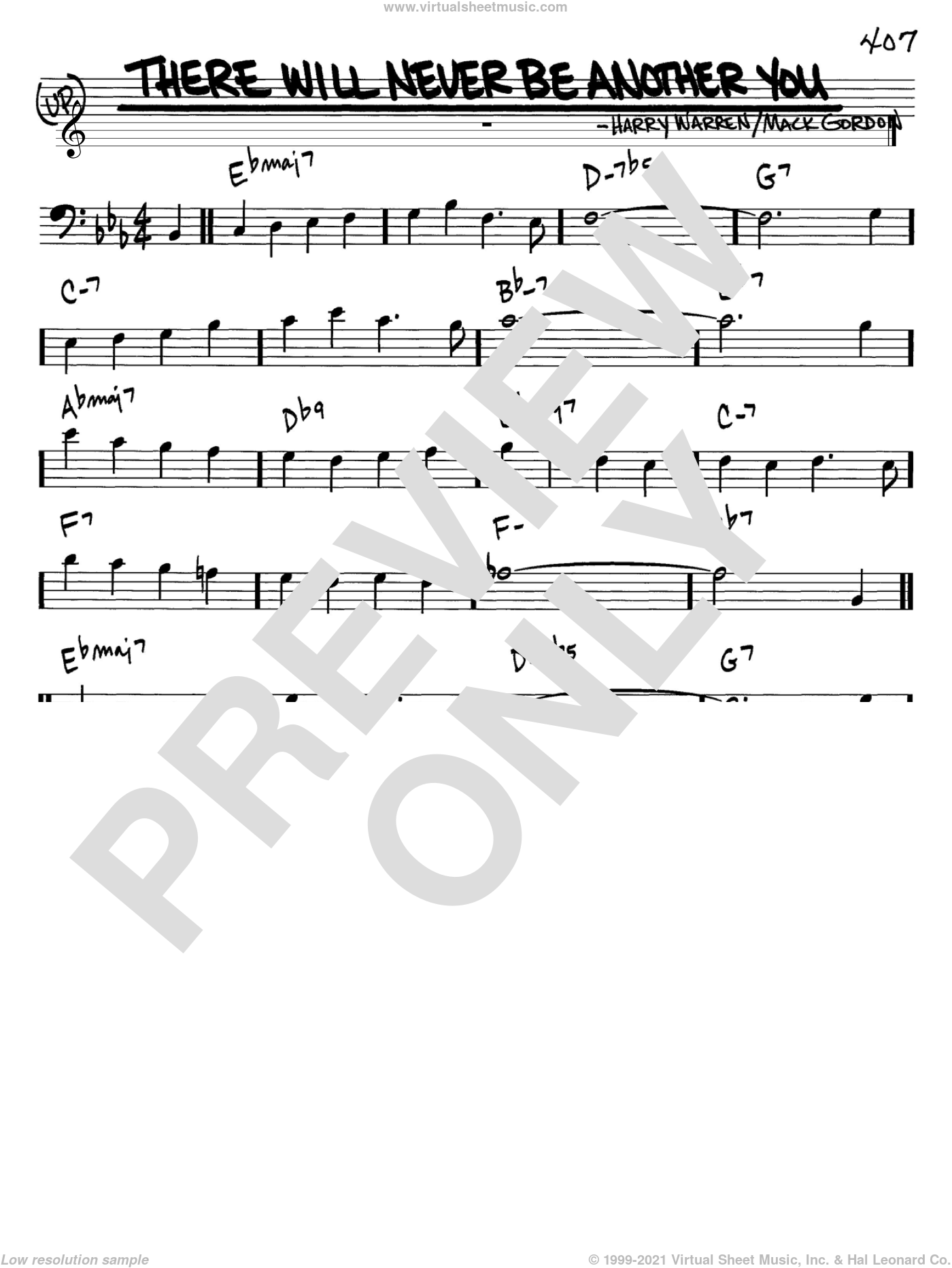 There Will Never Be Another You sheet music for voice and other instruments (Bass Clef ) by Mack Gordon and Harry Warren. Score Image Preview.