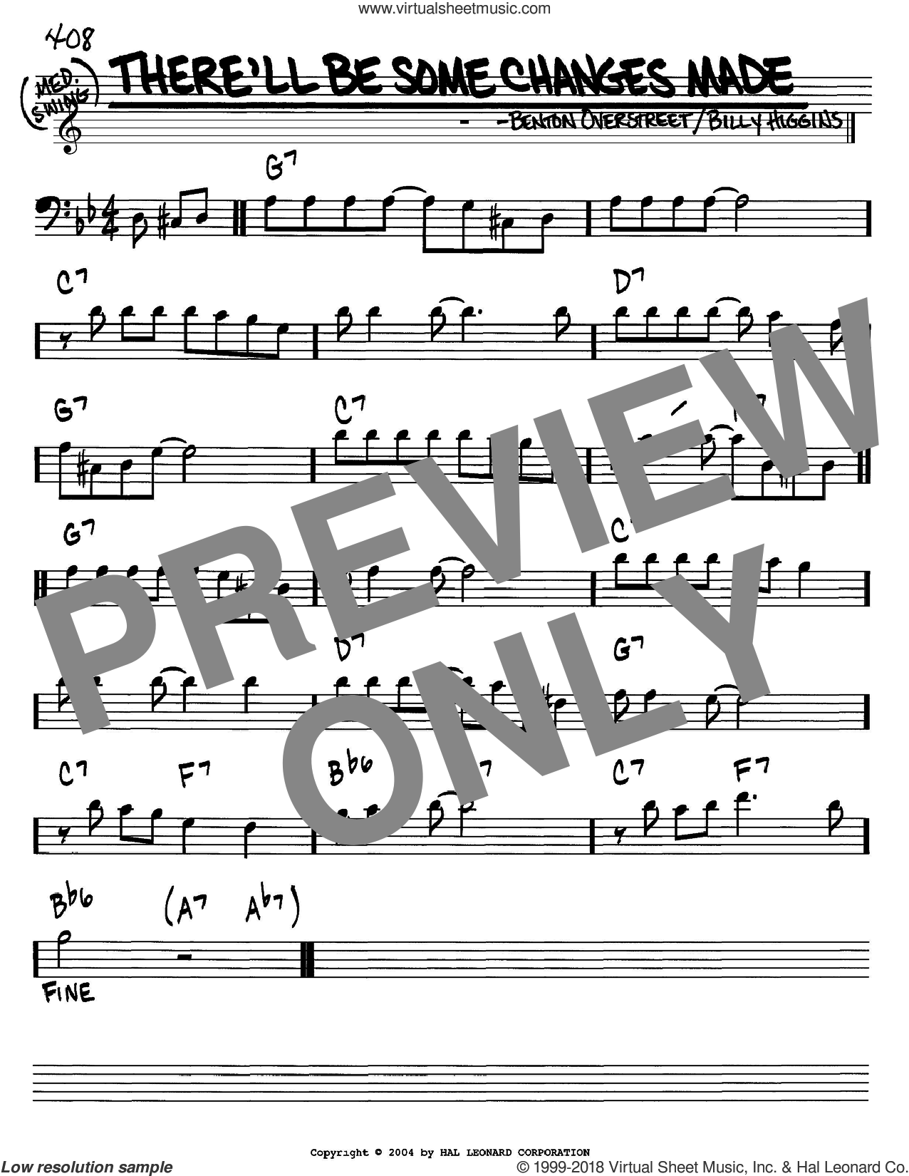 There'll Be Some Changes Made sheet music for voice and other instruments (bass clef) by Billy Higgins and W. Benton Overstreet, intermediate. Score Image Preview.