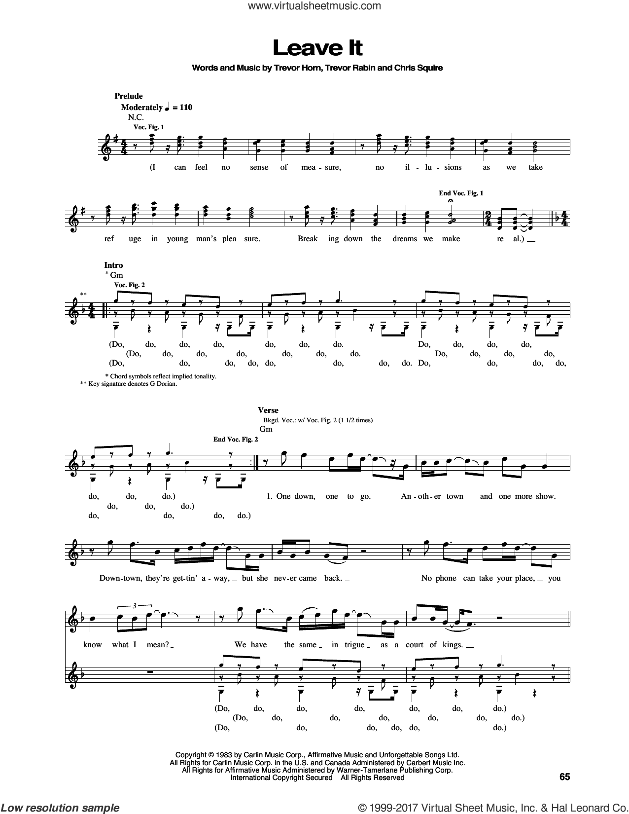 Leave It sheet music for bass (tablature) (bass guitar) by Yes, Chris Squire, Trevor Horn and Trevor Rabin, intermediate skill level