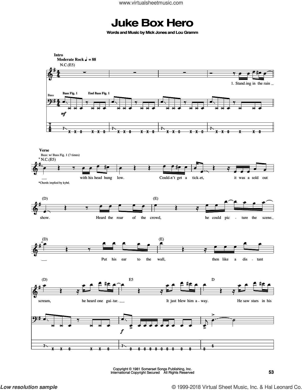 Juke Box Hero sheet music for bass (tablature) (bass guitar) by Foreigner, Lou Gramm and Mick Jones, intermediate skill level