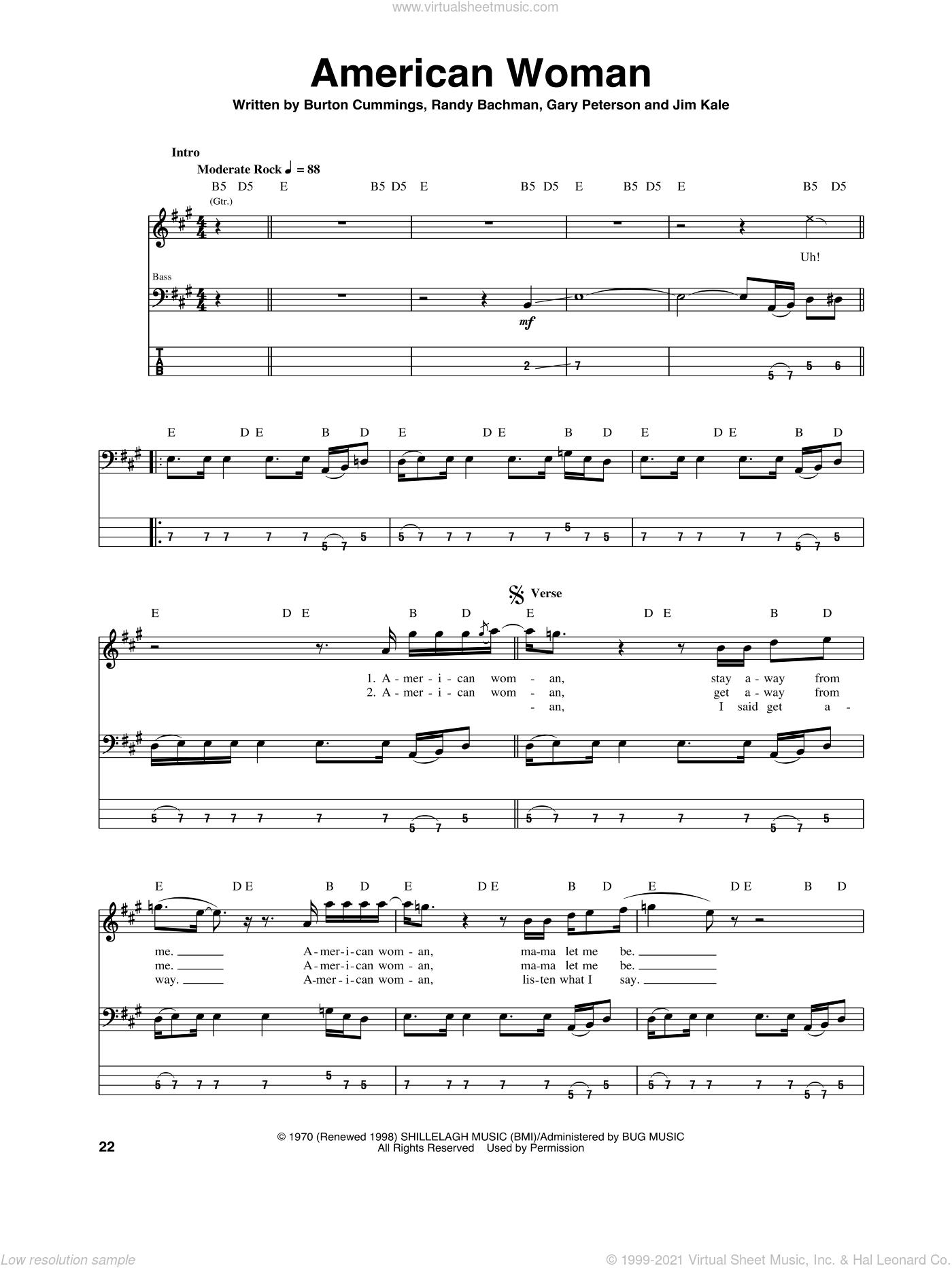 American Woman sheet music for bass (tablature) (bass guitar) by The Guess Who, Burton Cummings, Garry Peterson, Jim Kale and Randy Bachman, intermediate skill level