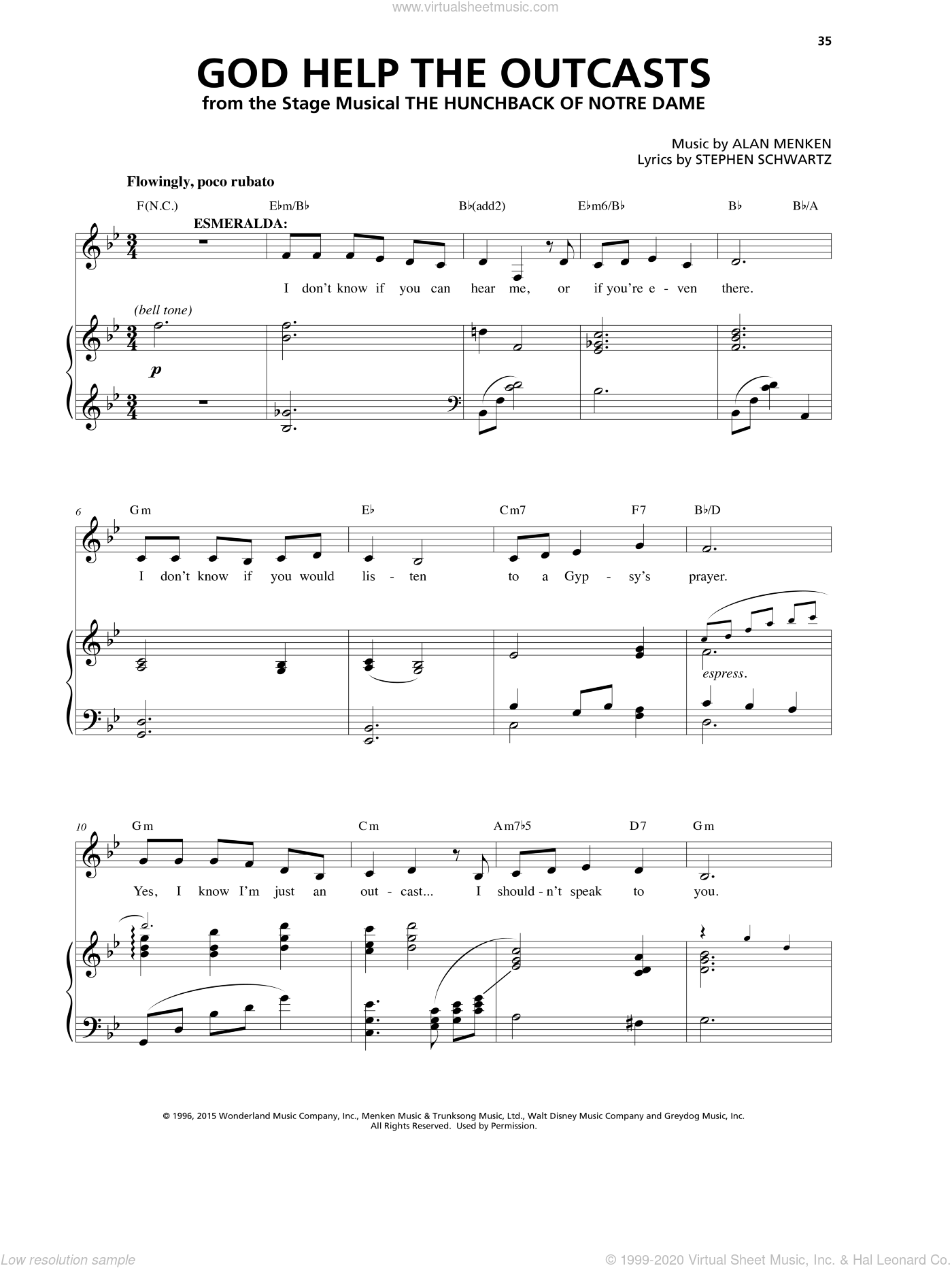God Help The Outcasts sheet music for voice and piano by Alan Menken and Stephen Schwartz, intermediate skill level