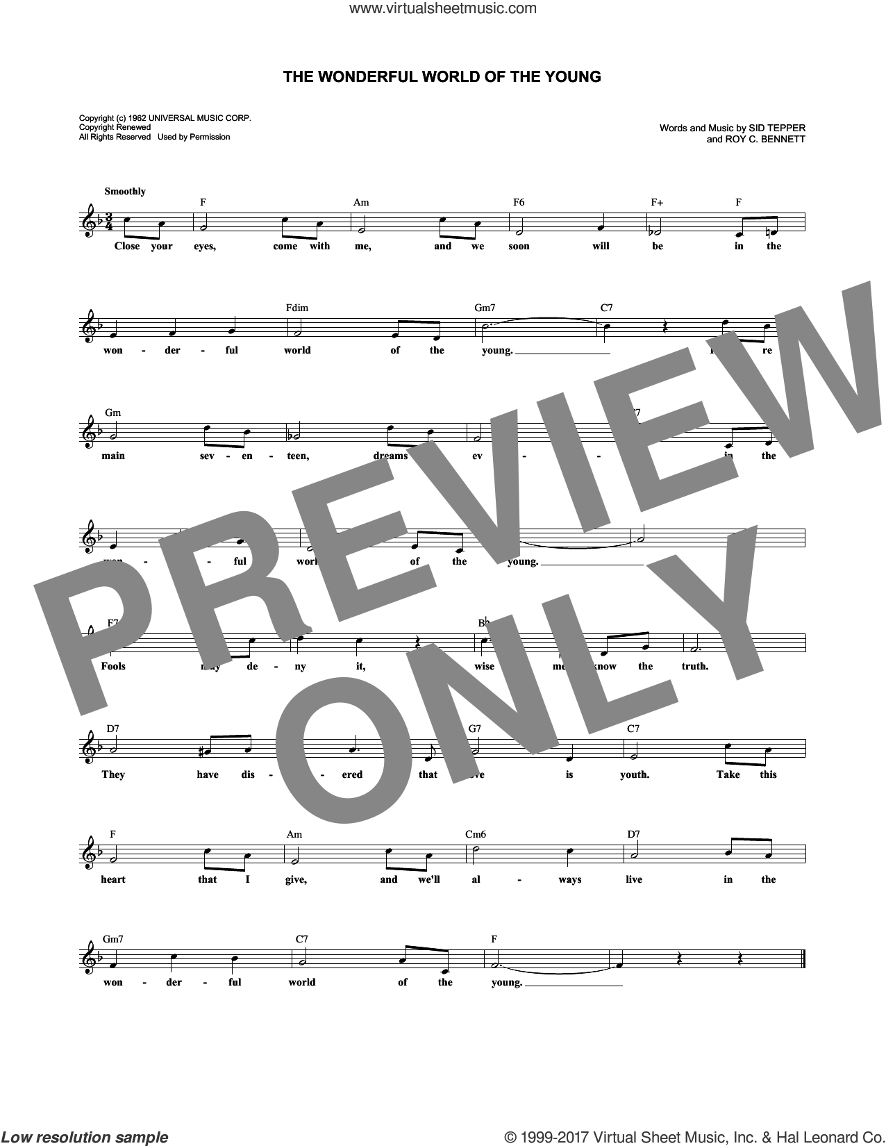 The Wonderful World Of The Young sheet music for voice and other instruments (fake book) by Andy Williams, Roy Bennett and Sid Tepper, intermediate. Score Image Preview.