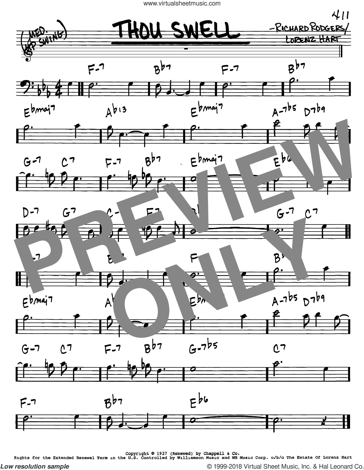 Thou Swell sheet music for voice and other instruments (bass clef) by Rodgers & Hart, Lorenz Hart and Richard Rodgers, intermediate. Score Image Preview.
