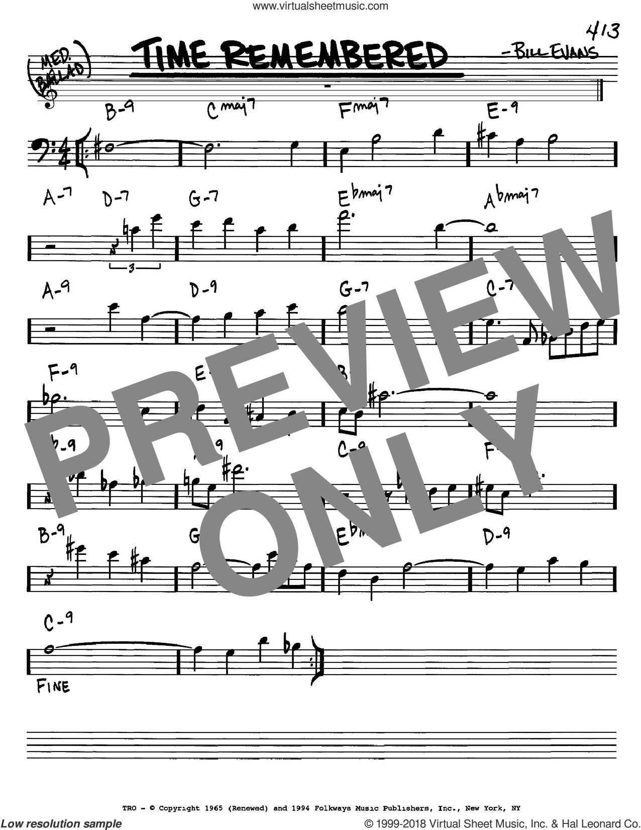 Time Remembered sheet music for voice and other instruments (bass clef) by Bill Evans, intermediate. Score Image Preview.