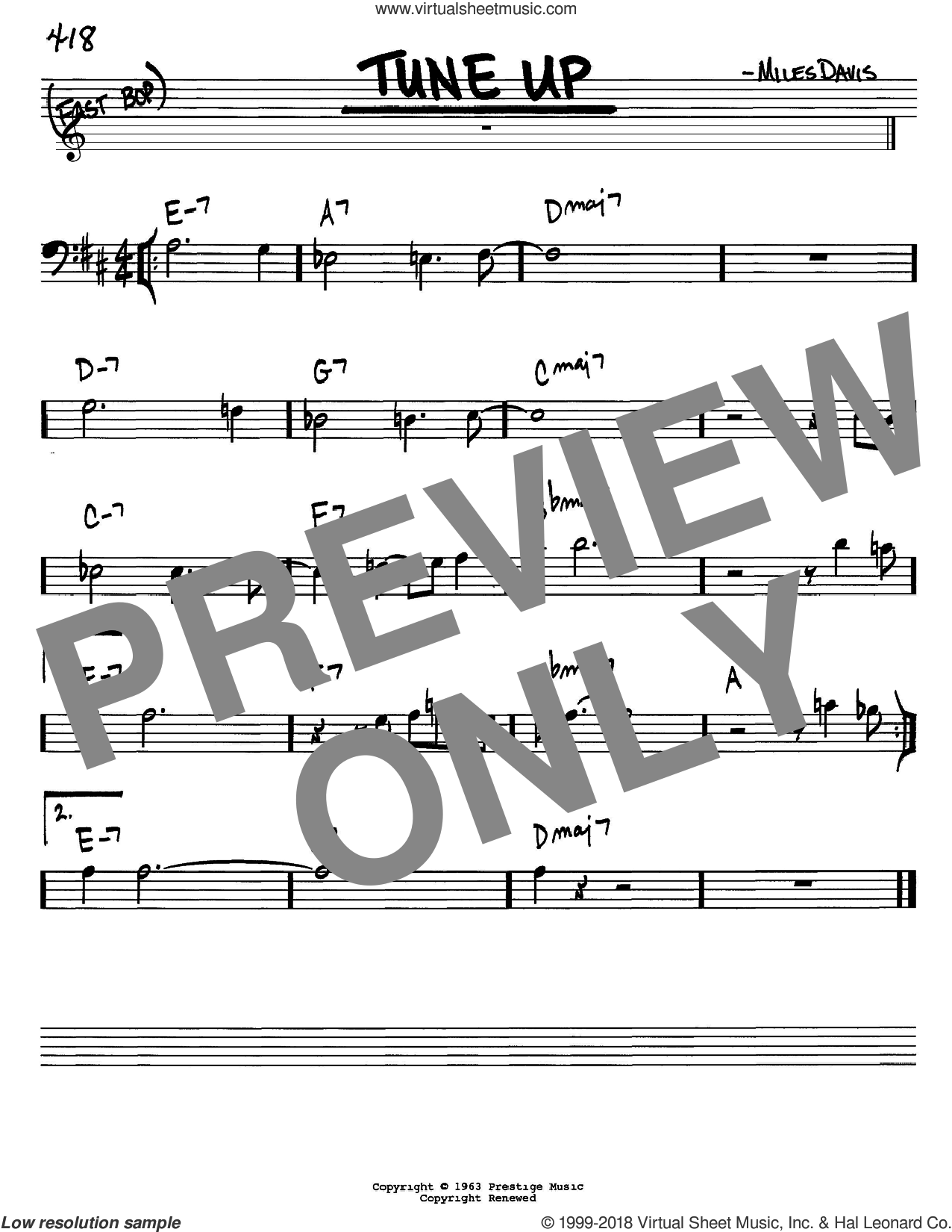 Tune Up sheet music for voice and other instruments (Bass Clef ) by Miles Davis