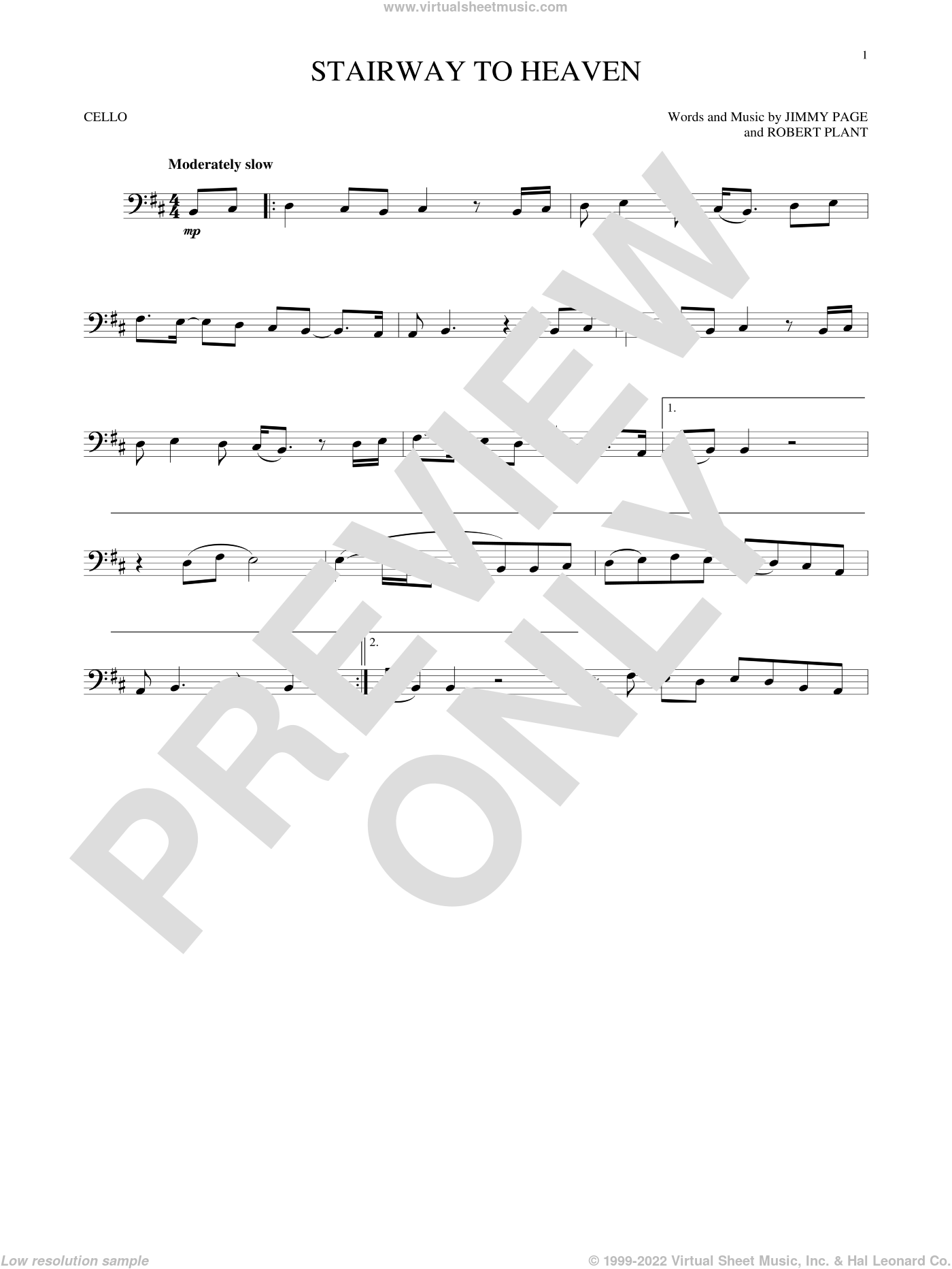 Stairway To Heaven sheet music for cello solo by Led Zeppelin, Jimmy Page and Robert Plant, intermediate skill level