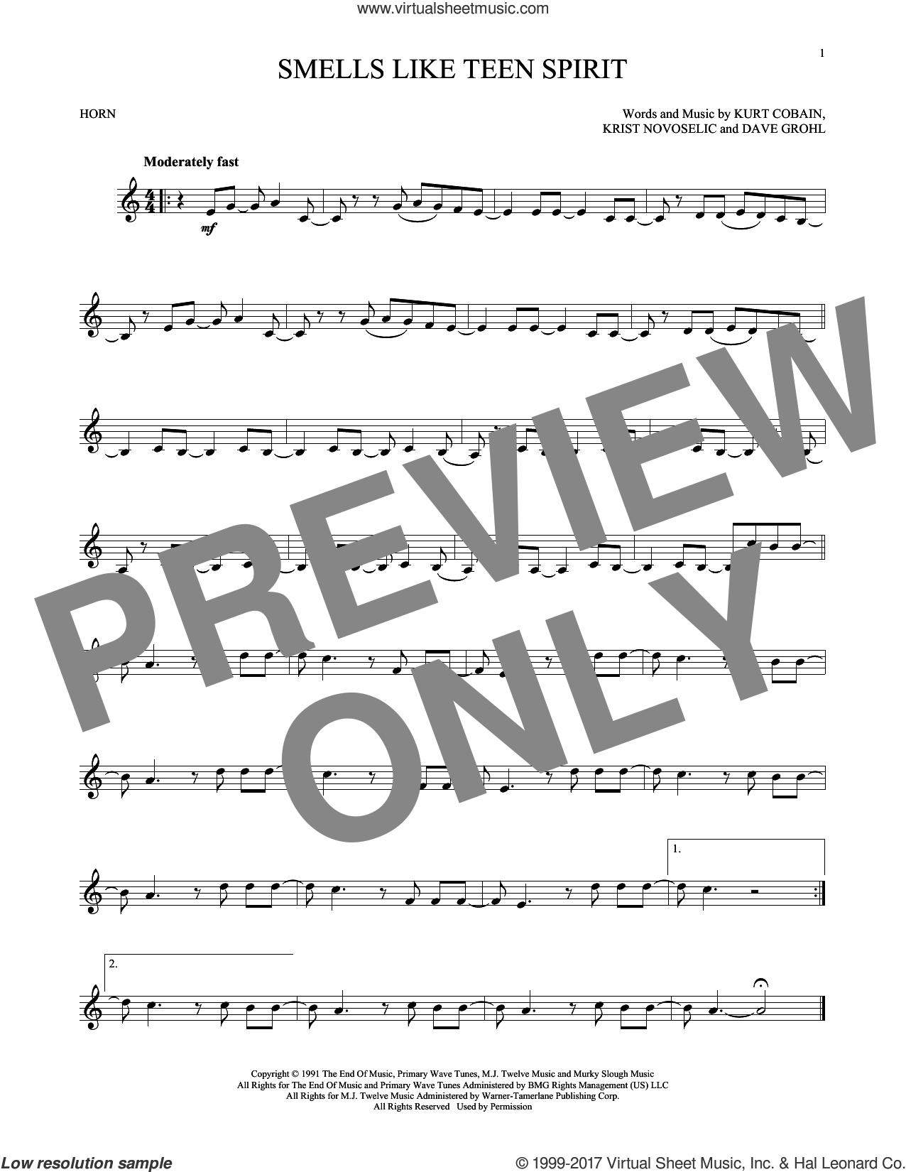 Smells Like Teen Spirit sheet music for horn solo by Nirvana, Dave Grohl, Krist Novoselic and Kurt Cobain, intermediate skill level