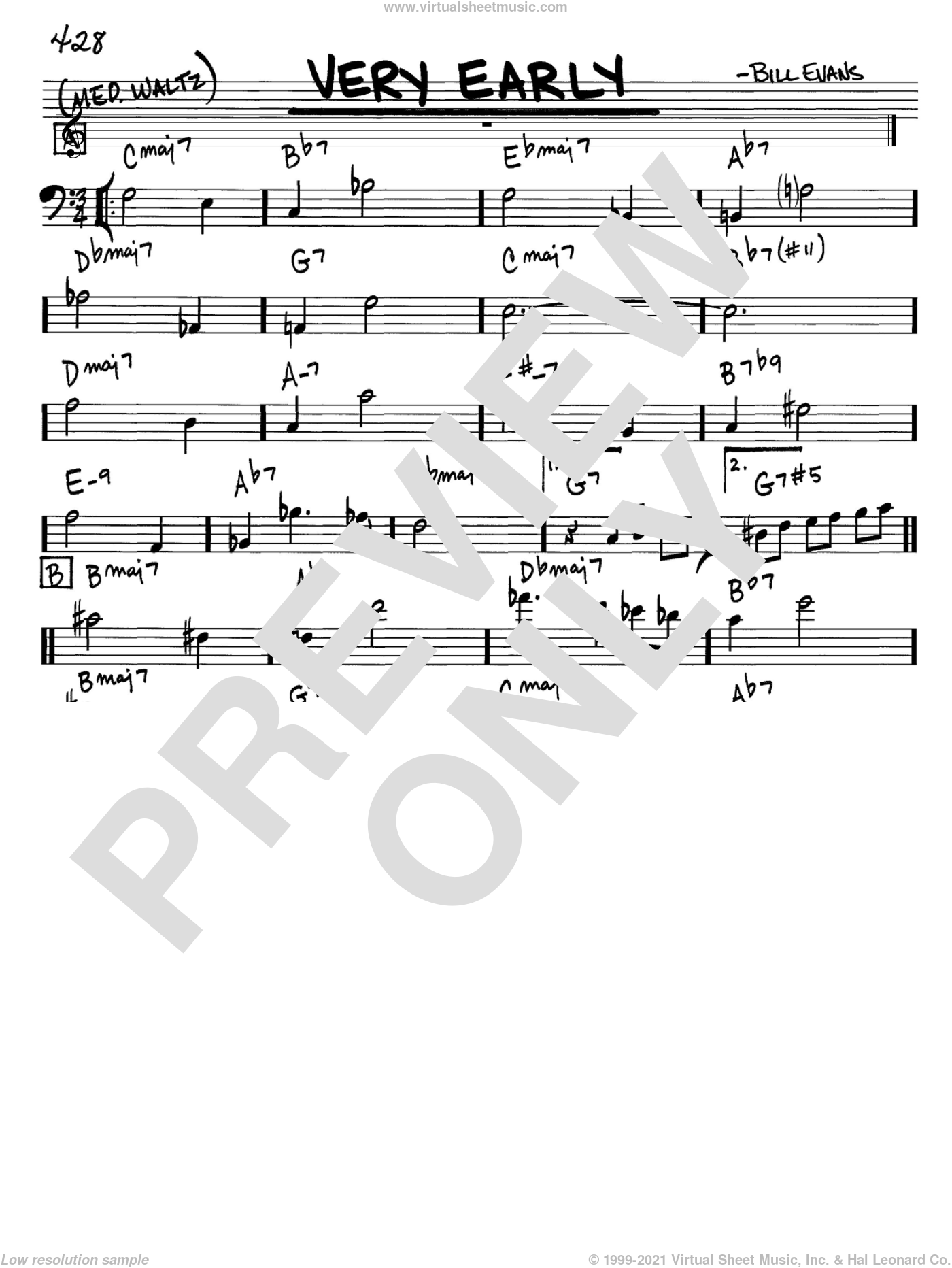 Very Early sheet music for voice and other instruments (Bass Clef ) by Bill Evans. Score Image Preview.