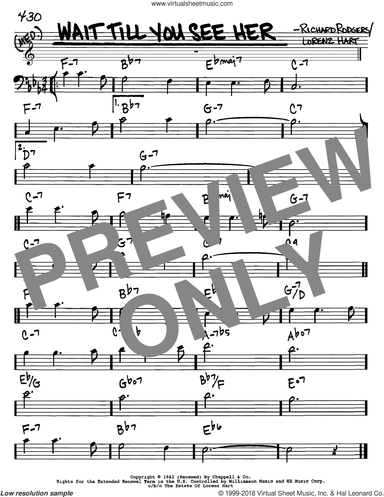 Wait Till You See Her sheet music for voice and other instruments (Bass Clef ) by Richard Rodgers