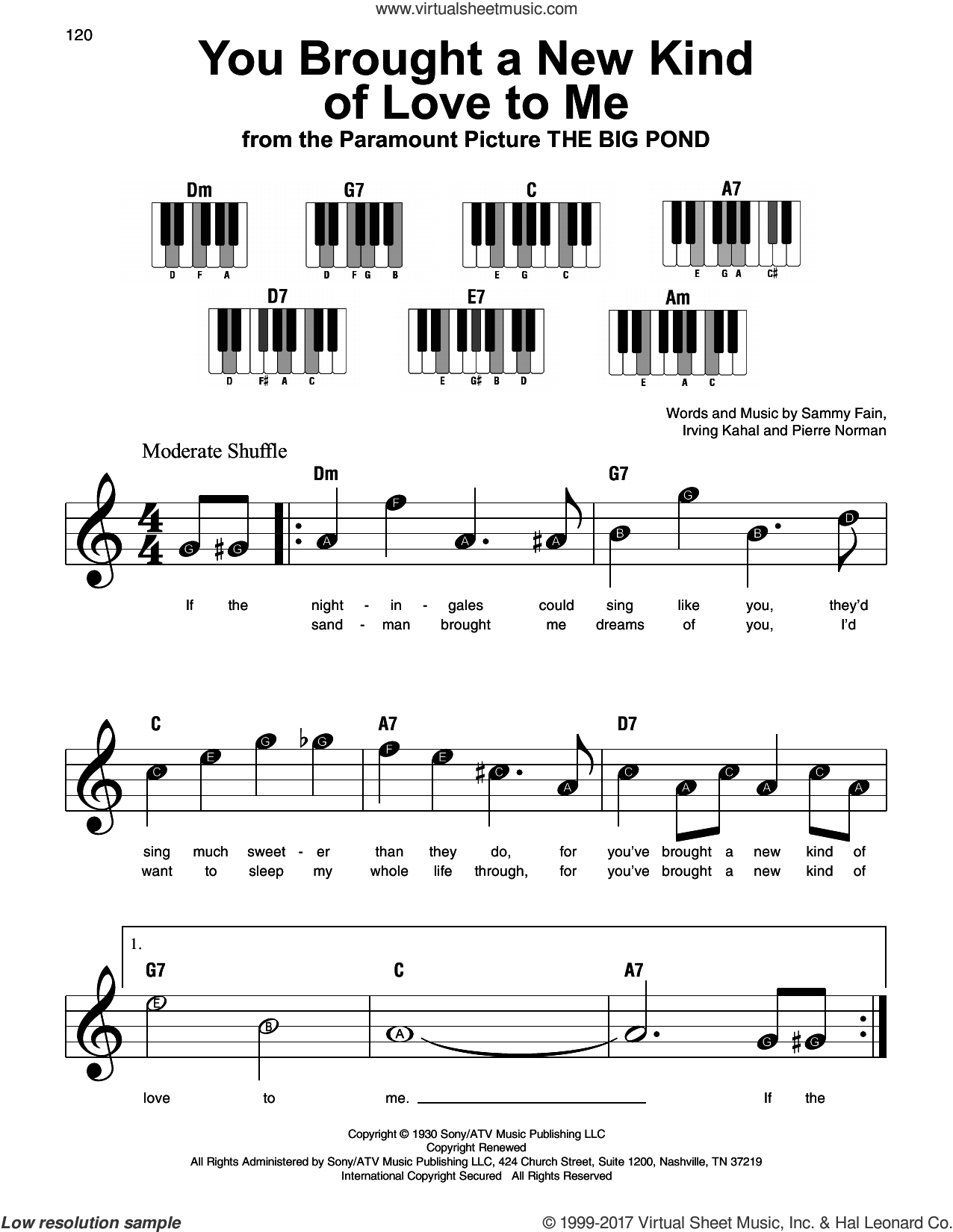 You Brought A New Kind Of Love To Me sheet music for piano solo by Scott Hamilton, Irving Kahal, Pierre Norman and Sammy Fain, beginner skill level