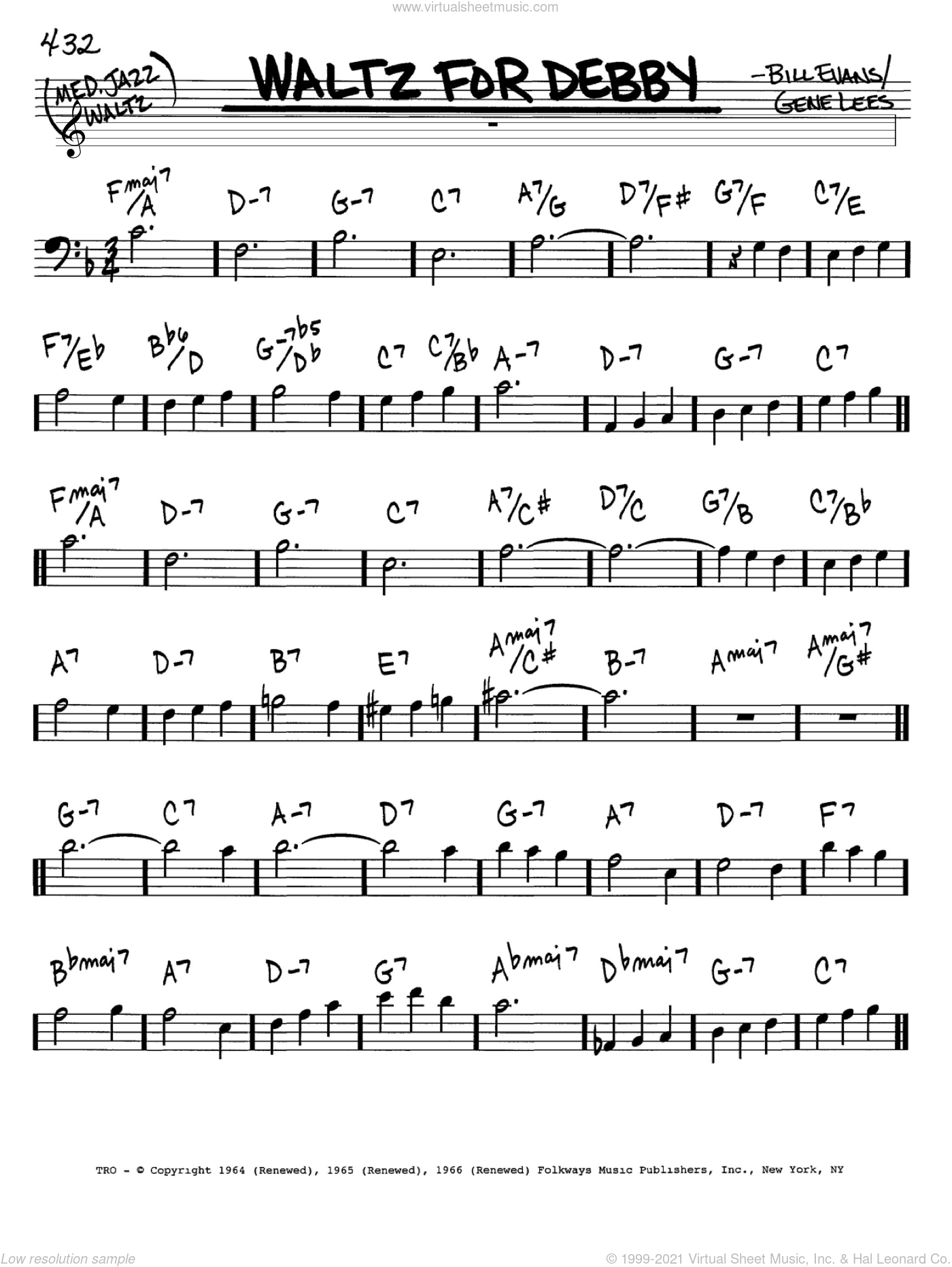 Waltz For Debby sheet music for voice and other instruments (bass clef) by Bill Evans and Eugene John Lees, intermediate skill level