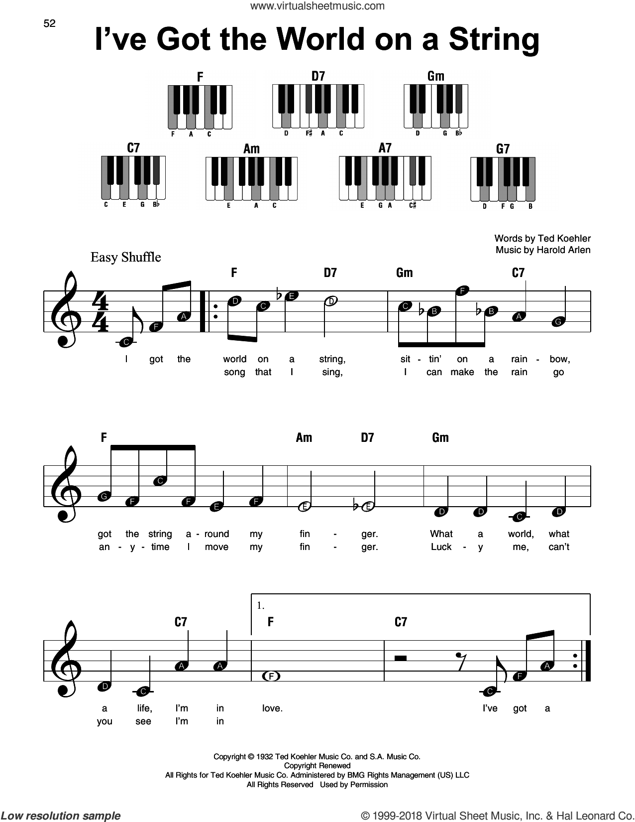 I've Got The World On A String sheet music for piano solo by Harold Arlen, Dick Hyman and Ted Koehler, beginner skill level