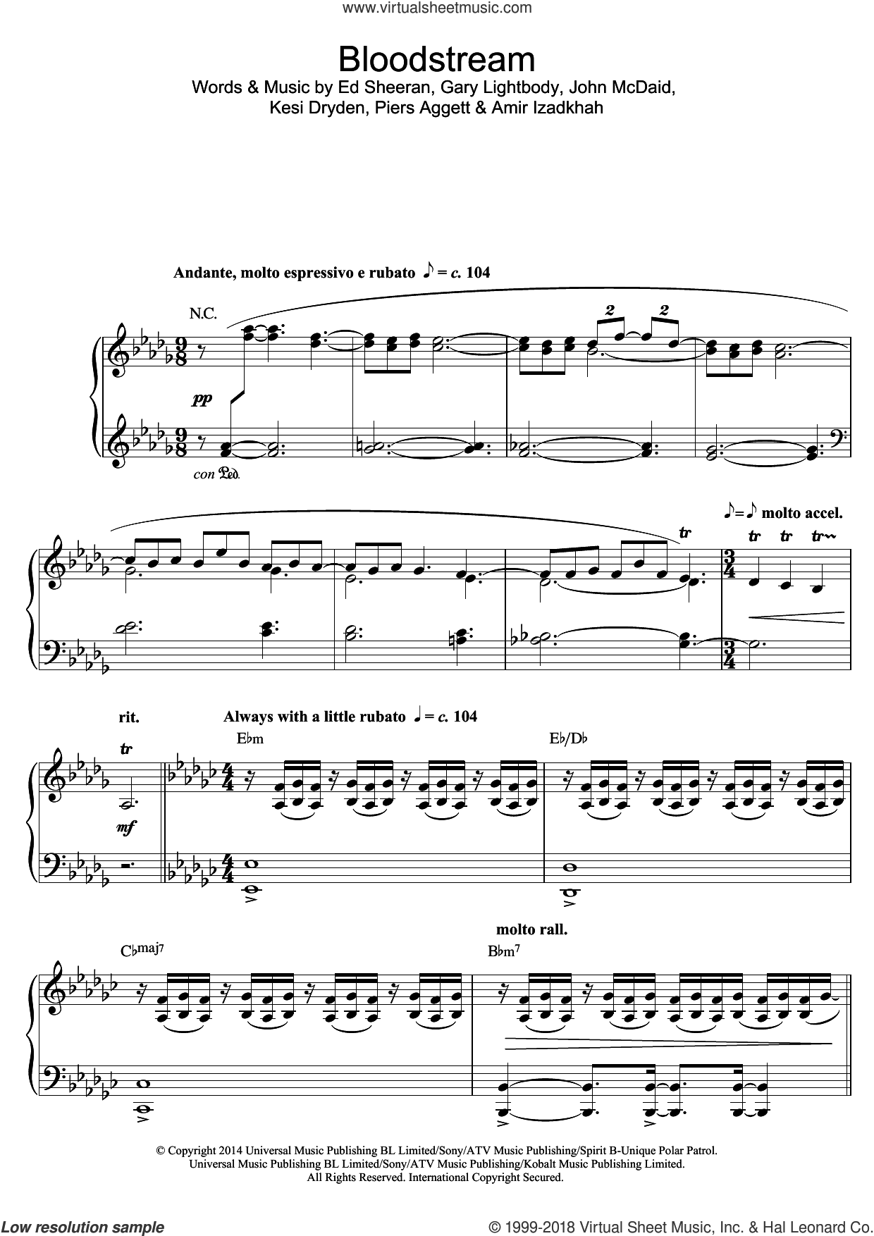 Bloodstream sheet music for piano solo by Tokio Myers, Amir Izadkhah, Ed Sheeran, Gary Lightbody, John McDaid, Kesi Dryden and Piers Aggett, classical score, intermediate skill level