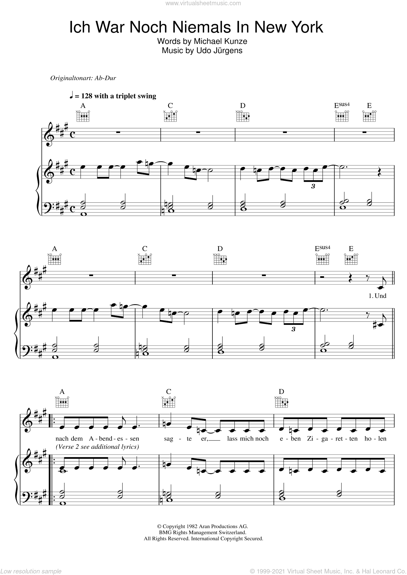 Ich War Noch Niemals In New York sheet music for voice, piano or guitar by Udo Jürgens, intermediate skill level