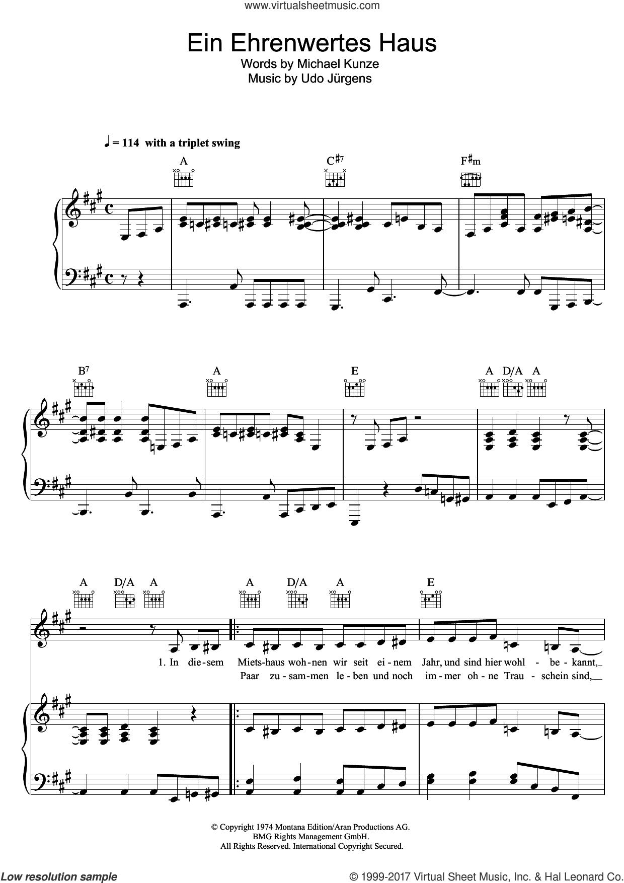 Ein Ehrenwertes Haus sheet music for voice, piano or guitar by Udo Jürgens, intermediate skill level