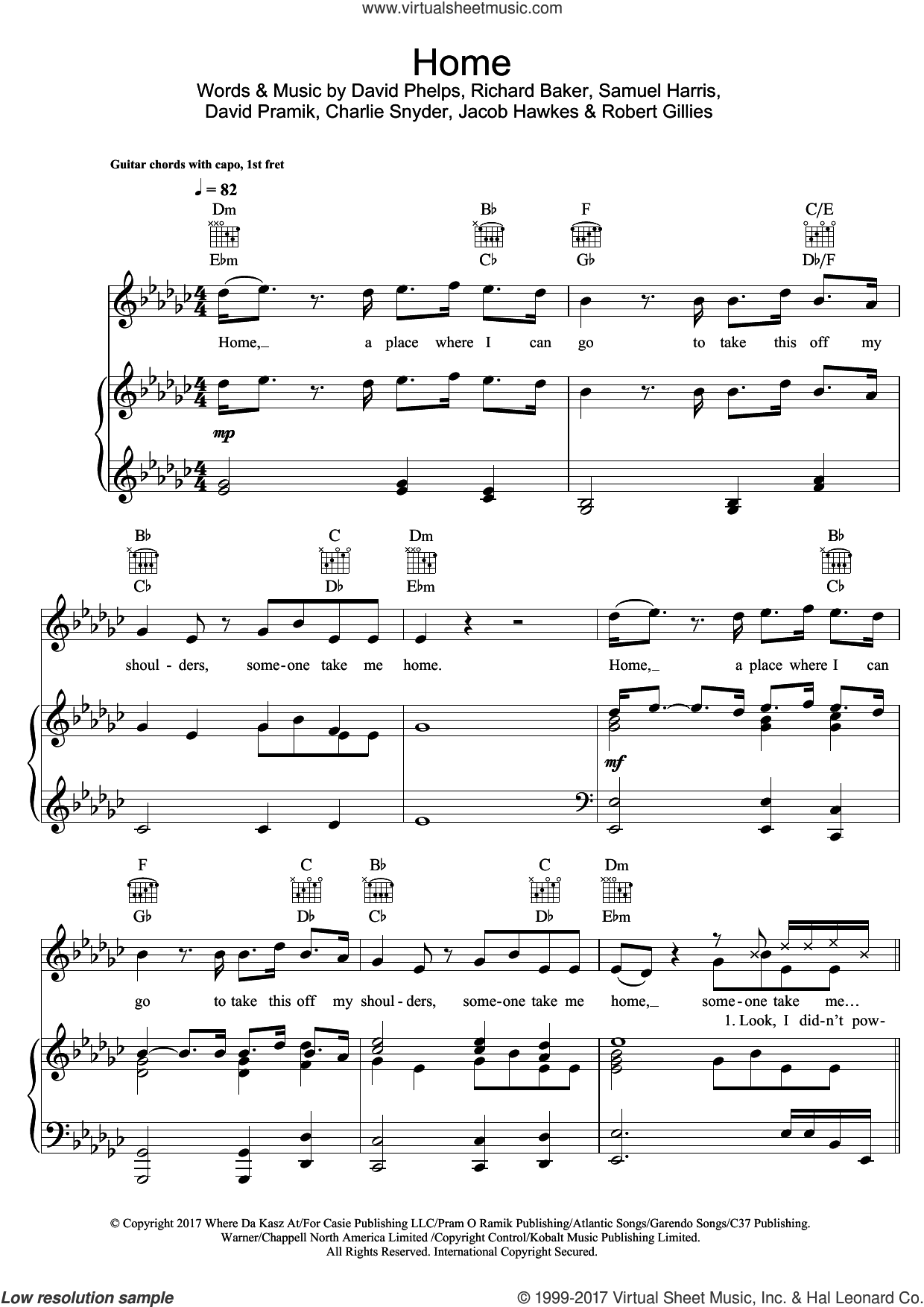 Home (featuring X Ambassadors and Bebe Rexha) sheet music for voice, piano or guitar by Machine Gun Kelly, Bebe Rexha, X Ambassadors, Charlie Snyder, David Phelps, David Pramik, Jacob Hawkes, Richard Baker, Robert Gillies and Samuel Harris, intermediate