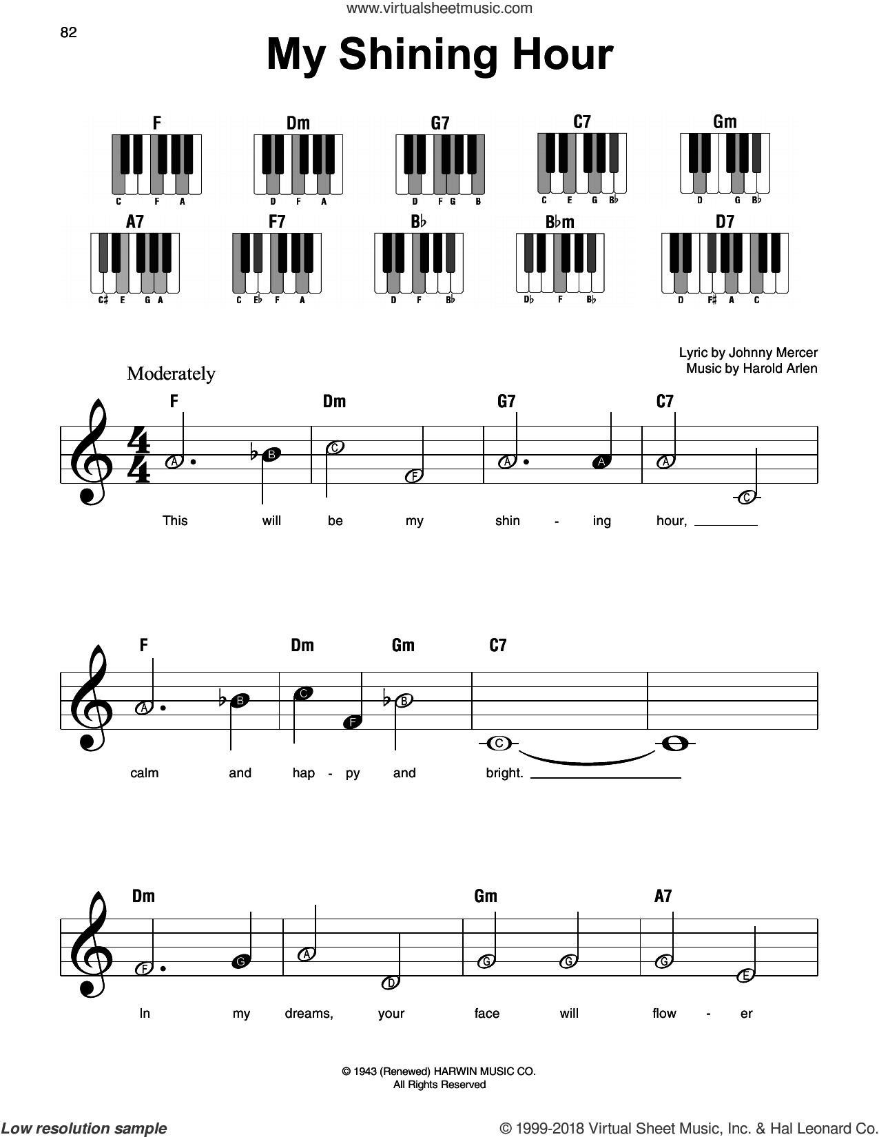 My Shining Hour, (beginner) sheet music for piano solo by Harold Arlen and Johnny Mercer, beginner skill level