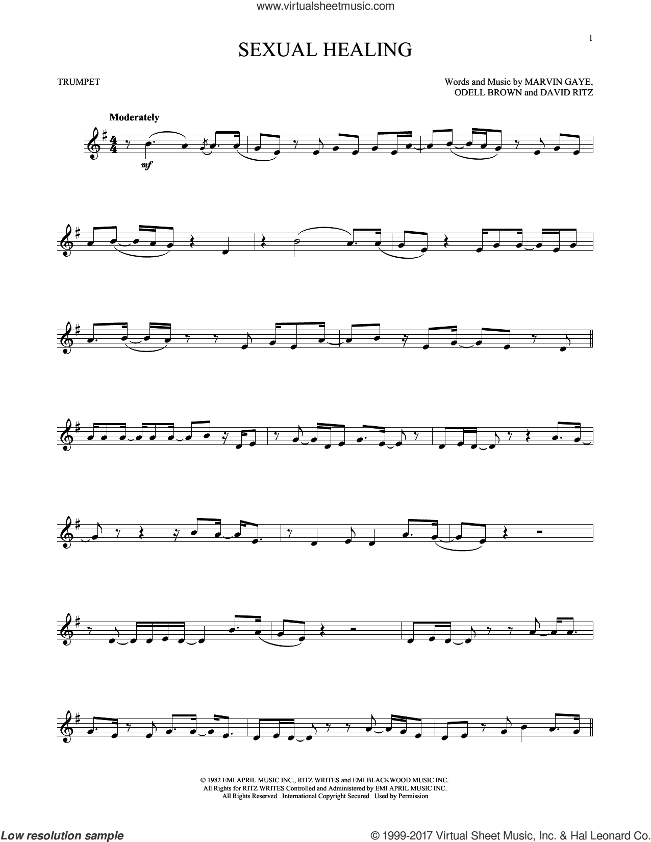 Sexual Healing sheet music for trumpet solo by Marvin Gaye, David Ritz and Odell Brown, intermediate skill level