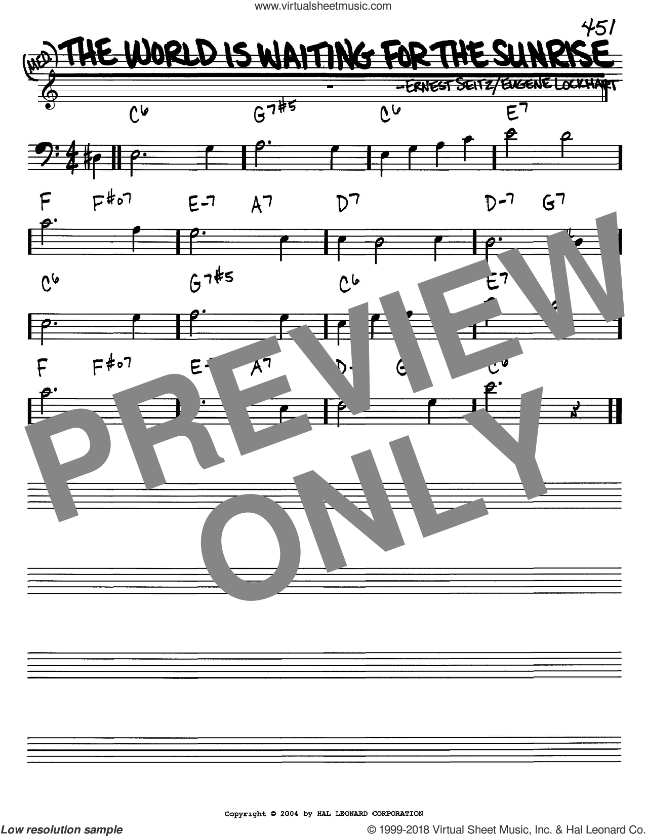 The World Is Waiting For The Sunrise sheet music for voice and other instruments (Bass Clef ) by Ernest Seitz and Eugene Lockhart. Score Image Preview.