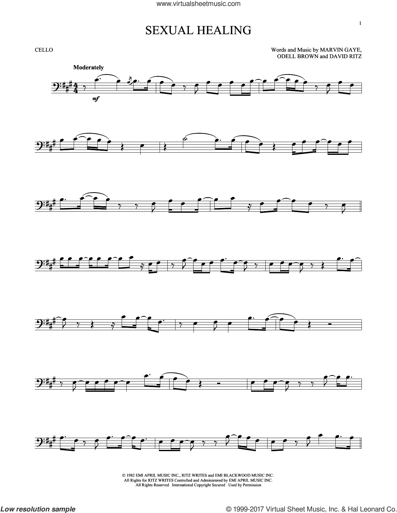 Sexual Healing sheet music for cello solo by Marvin Gaye, David Ritz and Odell Brown, intermediate skill level