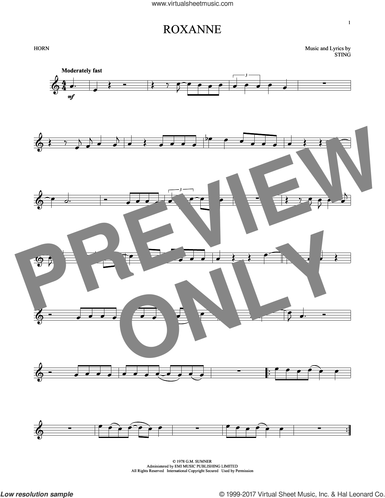 Roxanne sheet music for horn solo by The Police and Sting, intermediate. Score Image Preview.
