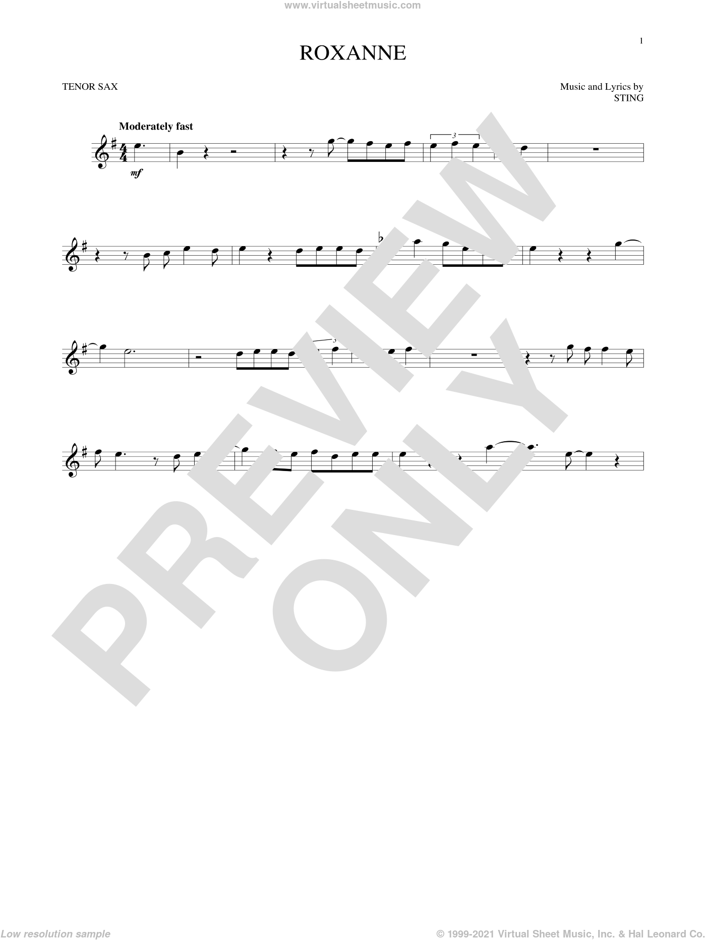 Roxanne sheet music for tenor saxophone solo by The Police and Sting, intermediate. Score Image Preview.