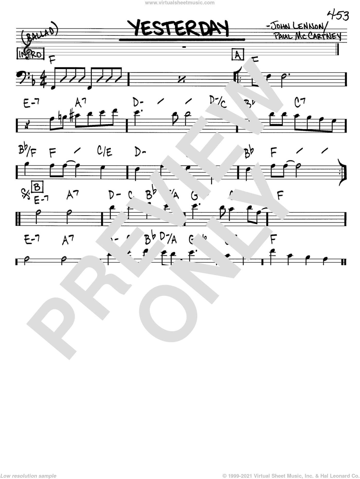 Beatles Yesterday Sheet Music Real Book Melody And Chords