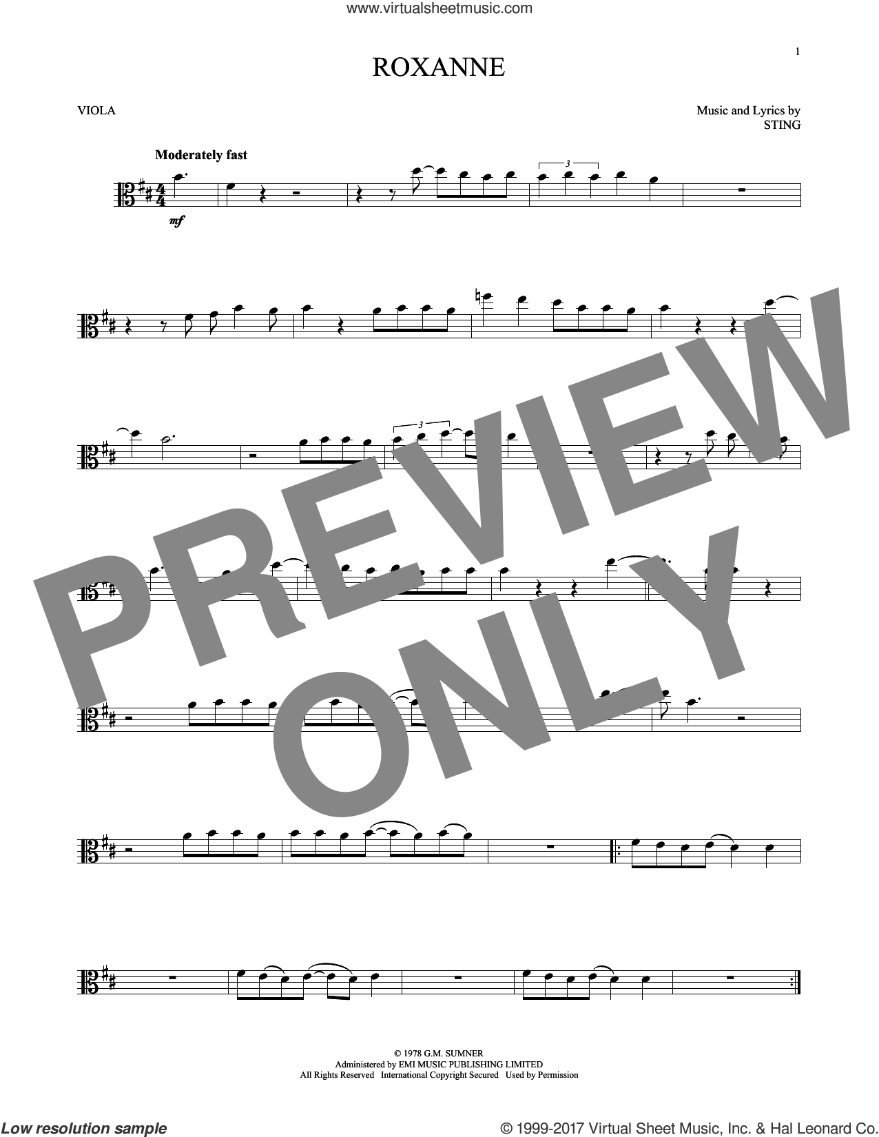 Roxanne sheet music for viola solo by The Police and Sting, intermediate skill level