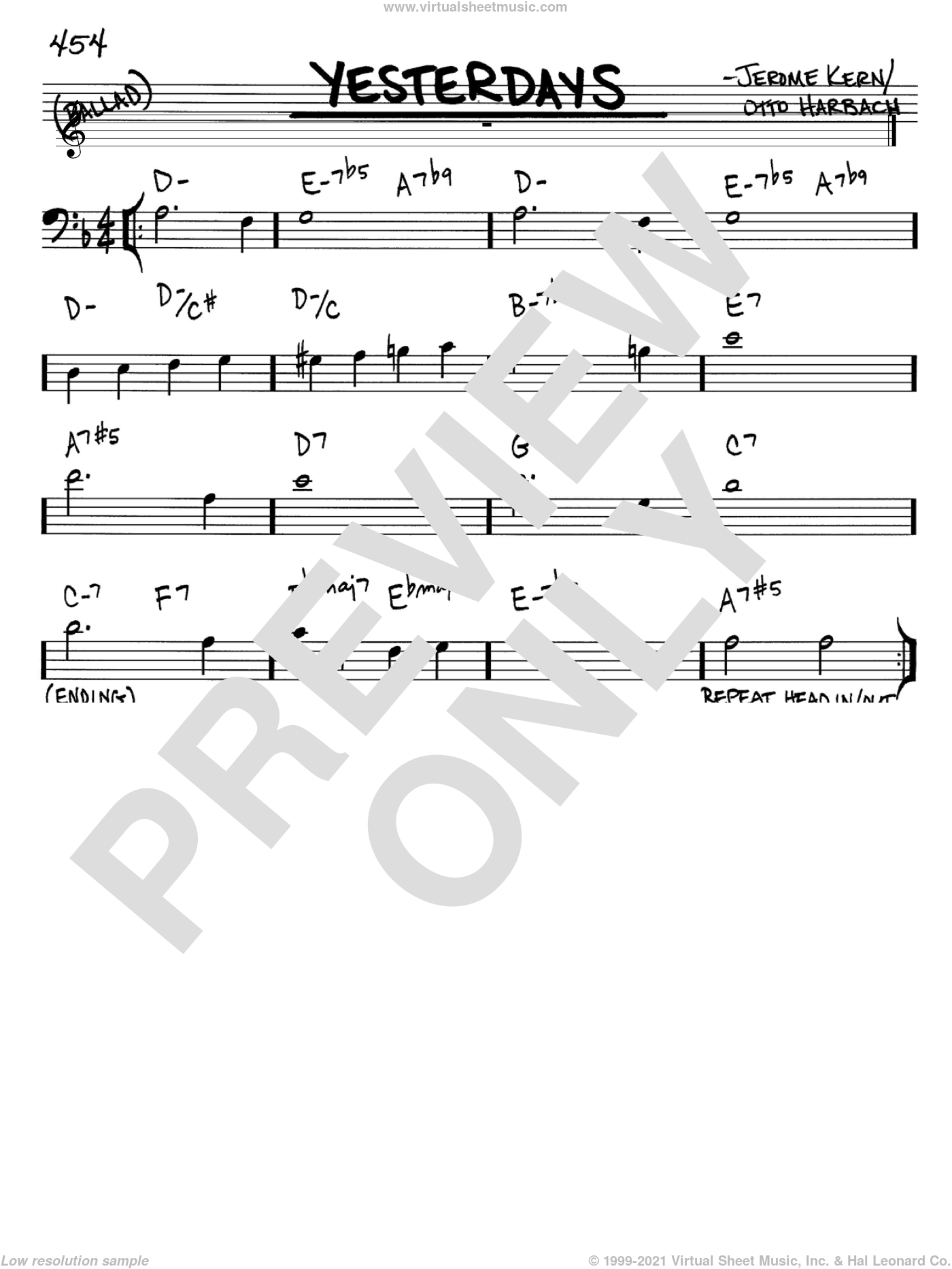 Yesterdays sheet music for voice and other instruments (Bass Clef ) by Jerome Kern and Otto Harbach, intermediate voice. Score Image Preview.