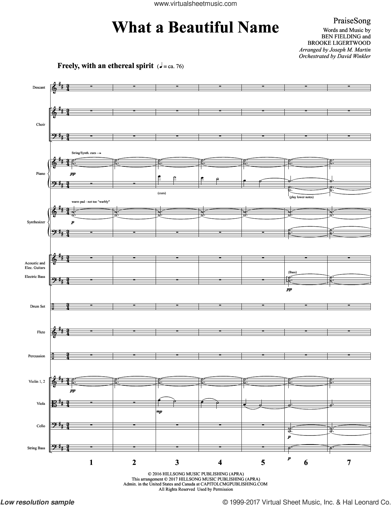 What a Beautiful Name (COMPLETE) sheet music for orchestra/band by Joseph M. Martin, Ben Fielding and Brooke Ligertwood, intermediate skill level