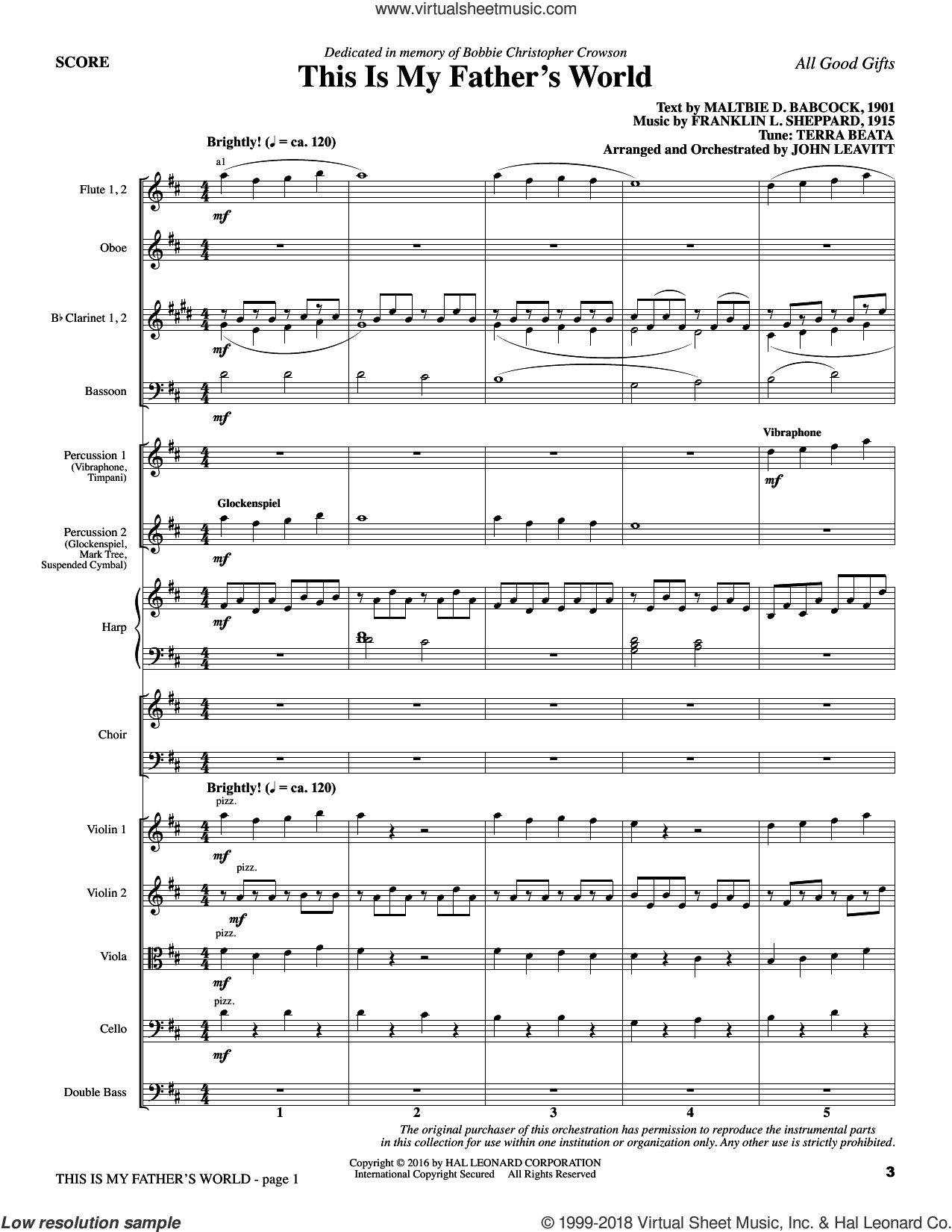 All Good Gifts (COMPLETE) sheet music for orchestra/band by John Leavitt and Johann Schop, intermediate skill level
