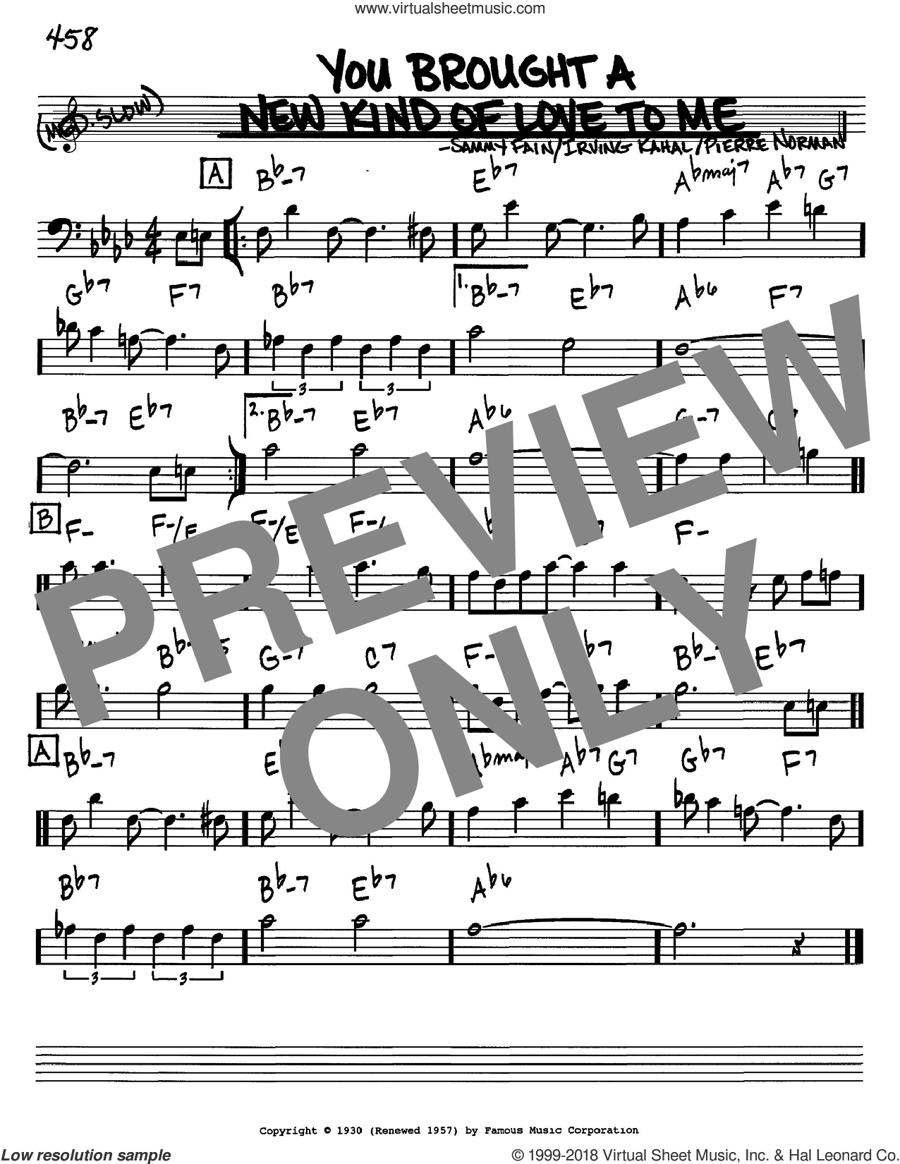 You Brought A New Kind Of Love To Me sheet music for voice and other instruments (Bass Clef ) by Sammy Fain, Frank Sinatra, Irving Kahal and Pierre Norman. Score Image Preview.