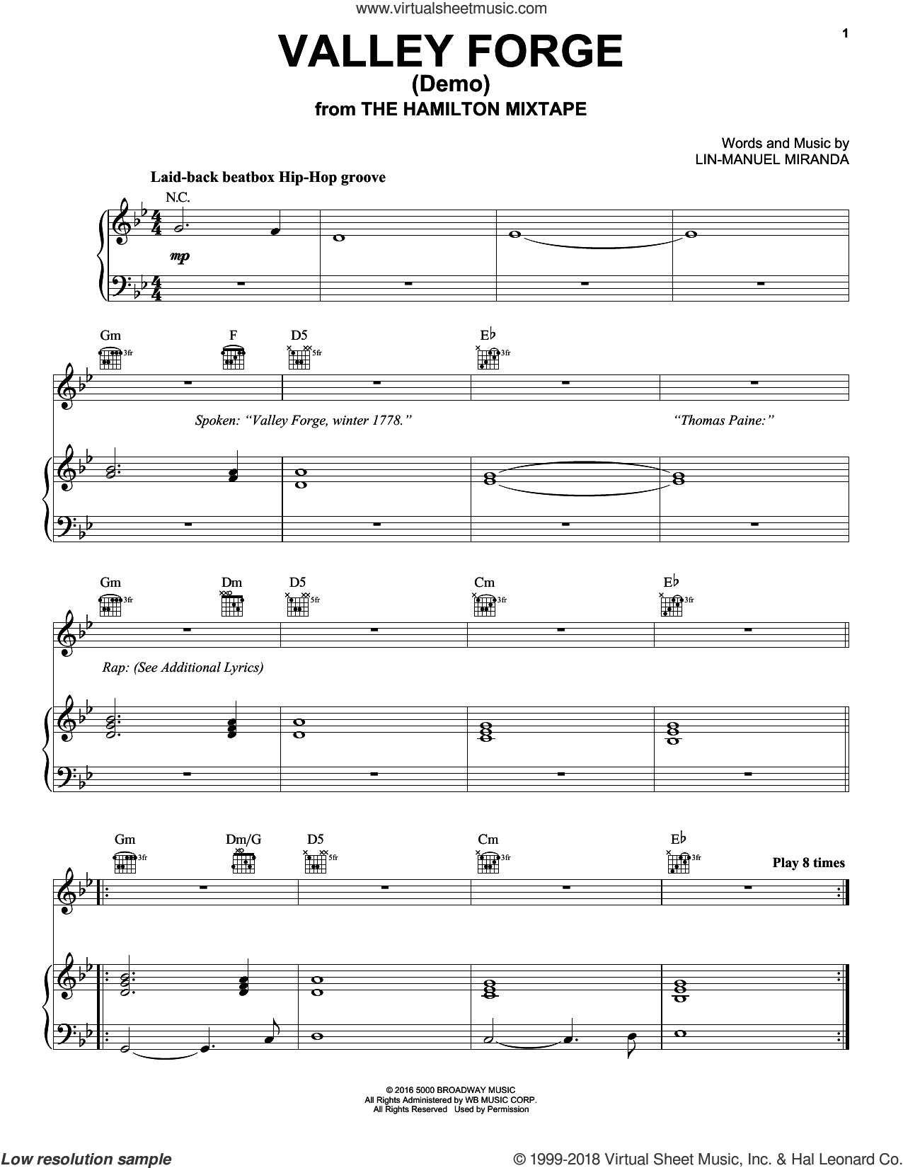 Valley Forge (Demo) (from The Hamilton Mixtape) sheet music for voice, piano or guitar by Lin-Manuel Miranda, intermediate skill level