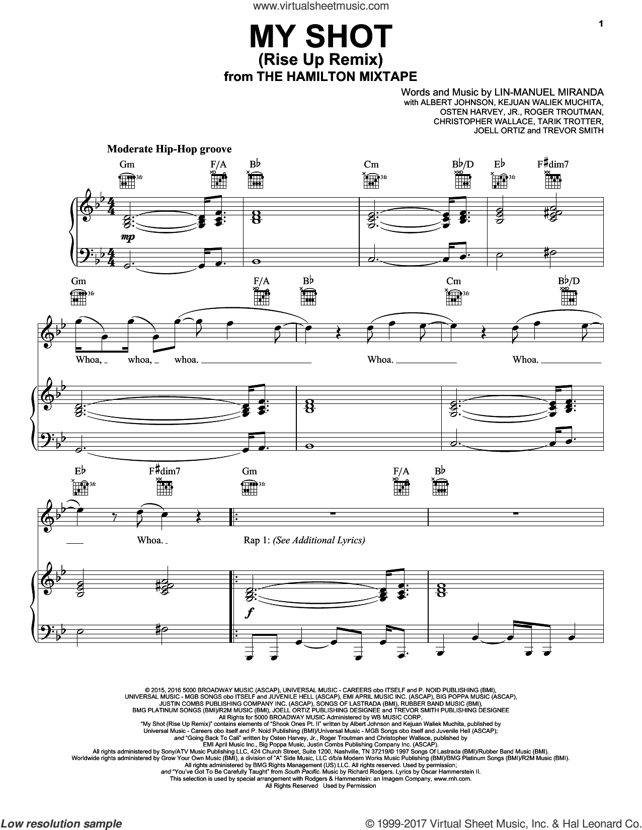 My Shot (Rise Up Remix) sheet music for voice, piano or guitar by Lin-Manuel Miranda, Busta Rhymes, Nate Ruess, The Roots, The Roots, Busta Rhymes, Joell Ortiz, Nate Ruess, Albert Johnson, Christopher Wallace, Joell Ortiz, Kejuan Waliek Muchita, Osten Harvey, Jr., Roger Troutman, Tarik Trotter and Trevor Smith, intermediate skill level