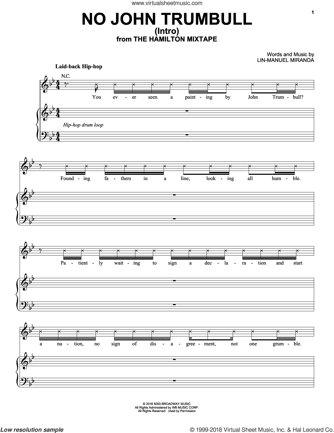No John Trumbull (Intro) sheet music for voice, piano or guitar by Lin-Manuel Miranda and The Roots, intermediate skill level