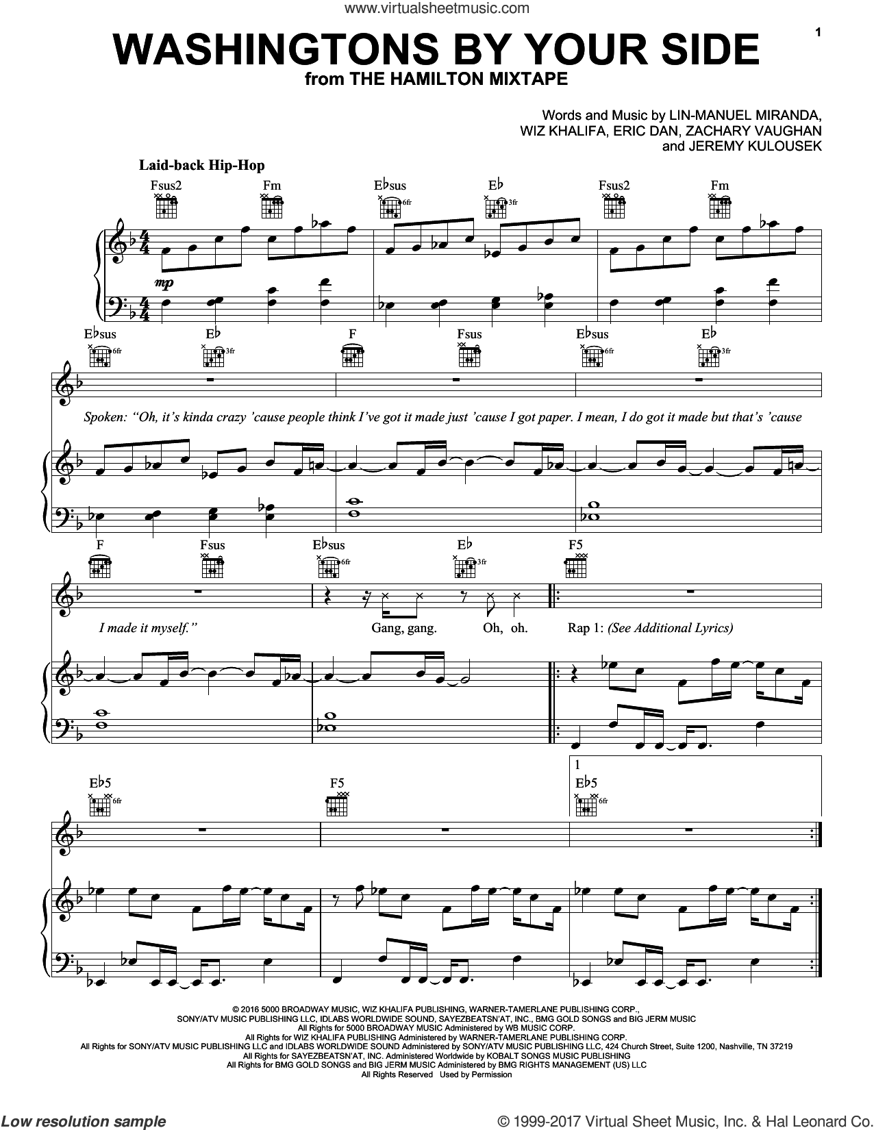 Washingtons By Your Side sheet music for voice, piano or guitar by Lin-Manuel Miranda, Eric Dan, Jeremy Kulousek, Wiz Khalifa and Zachary Vaughan, intermediate. Score Image Preview.