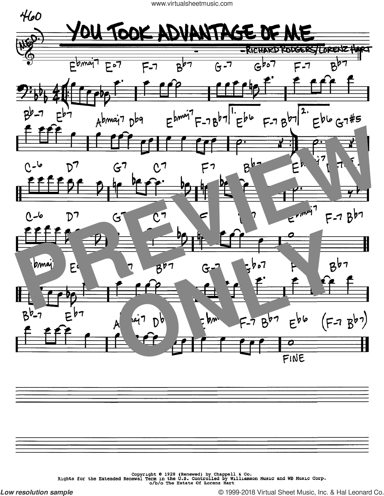 You Took Advantage Of Me sheet music for voice and other instruments (Bass Clef ) by Richard Rodgers, Rodgers & Hart and Lorenz Hart. Score Image Preview.