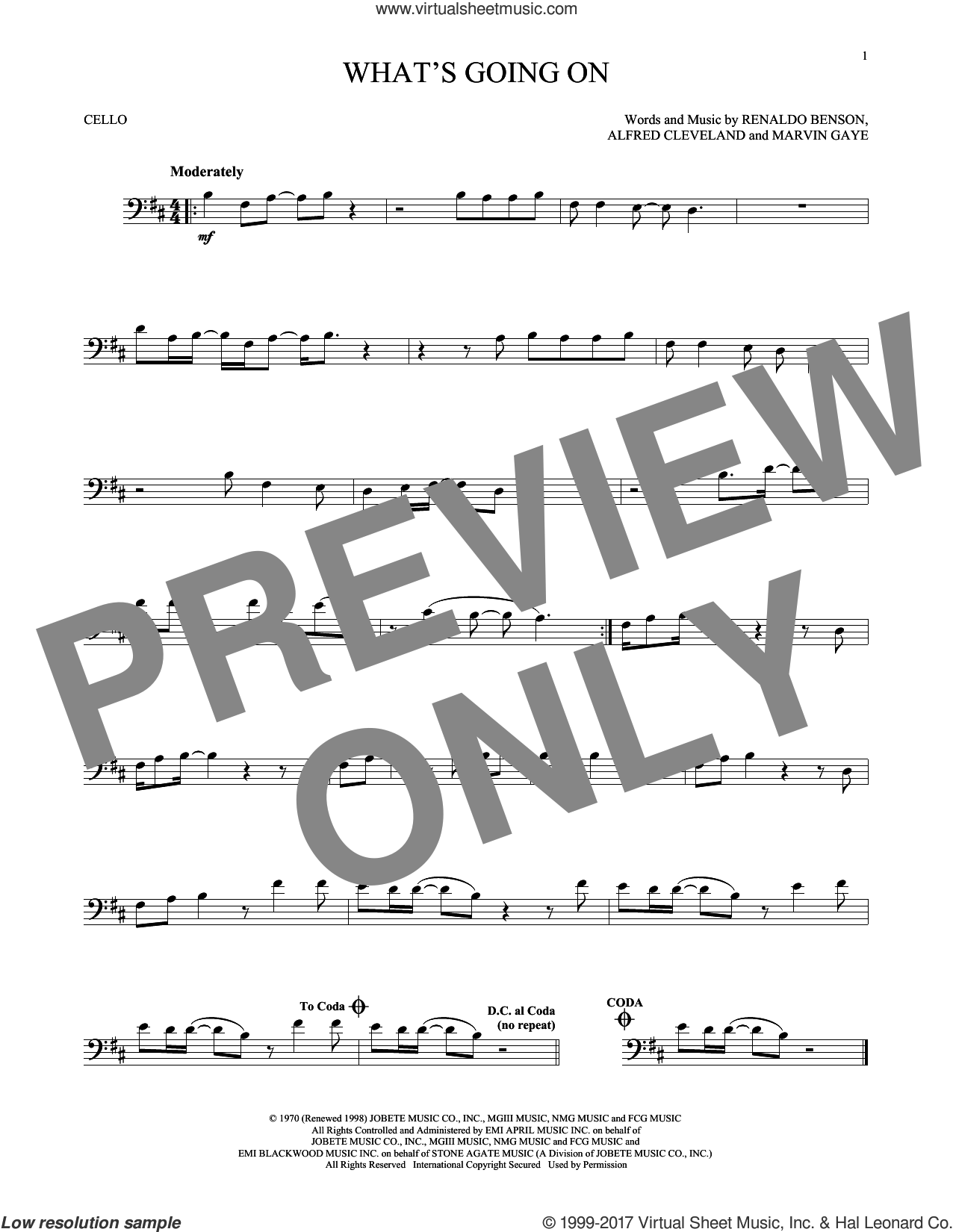 What's Going On sheet music for cello solo by Marvin Gaye, Al Cleveland and Renaldo Benson, intermediate skill level